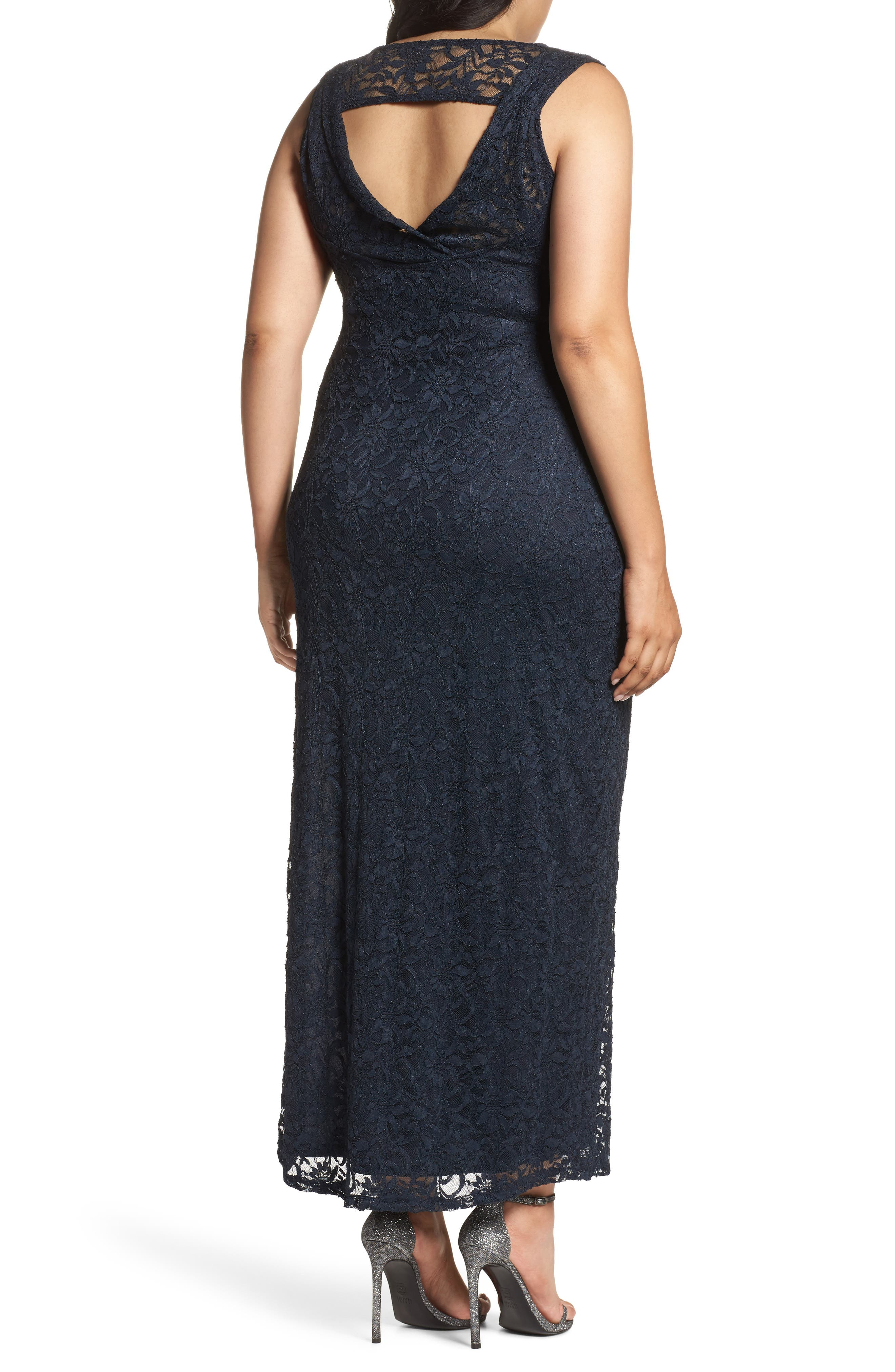 Alternate Image 2  - Marina Cutout Back Lace Empire Gown (Plus Size)