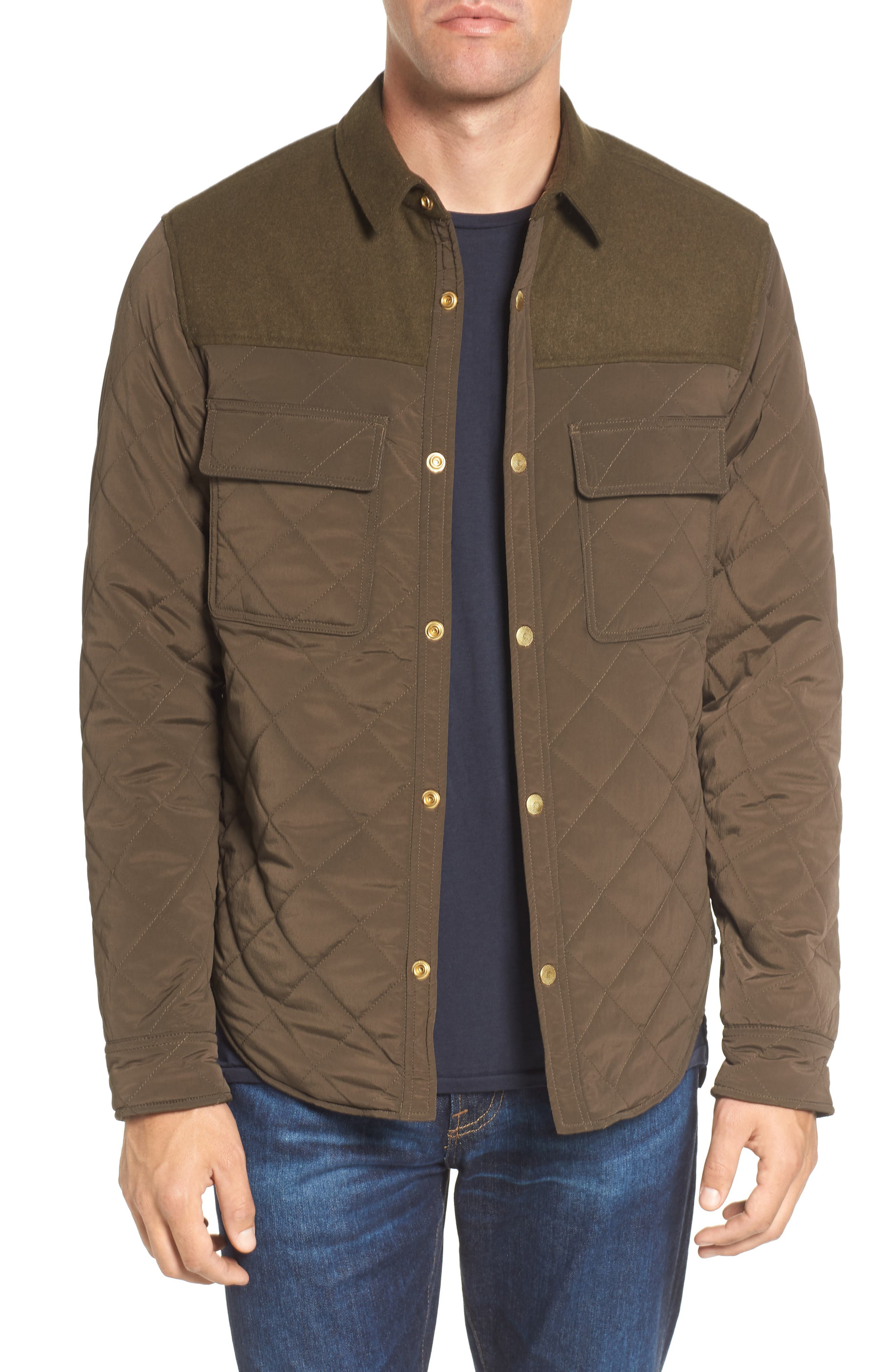 Quilted Shirt Jacket,                         Main,                         color, Army