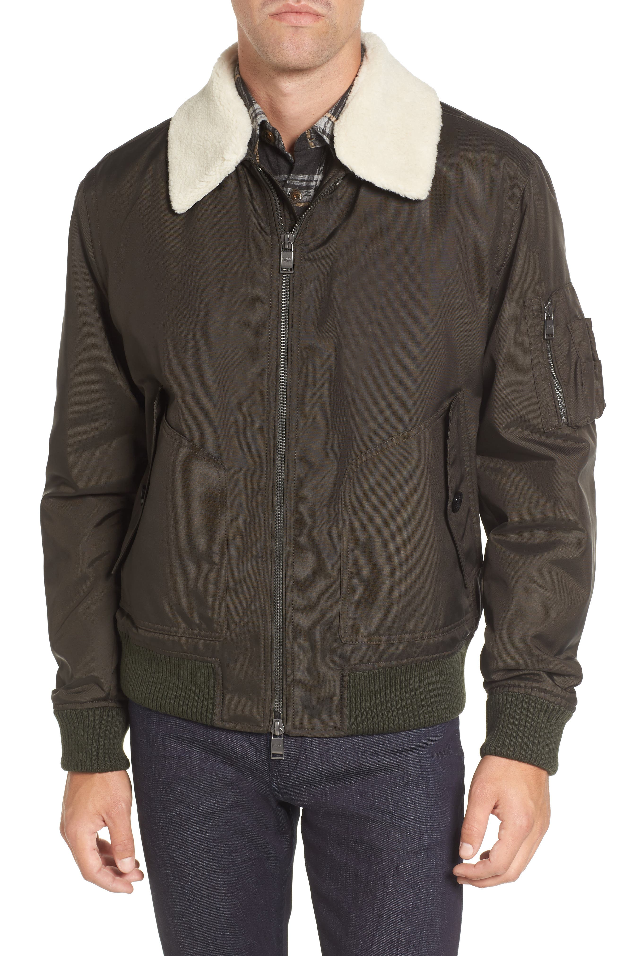 BOSS Cobra Aviator Jacket with Faux Fur Collar
