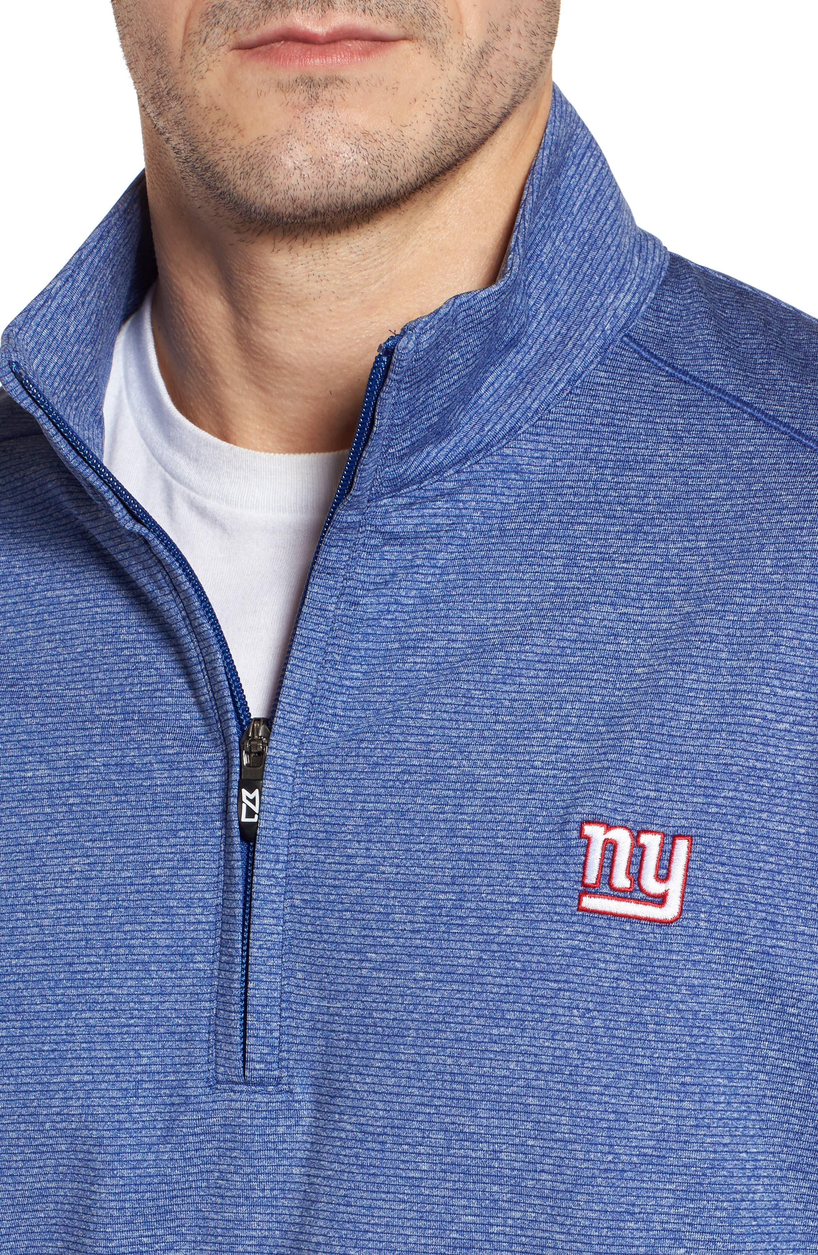 Shoreline - New York Giants Half Zip Pullover,                             Alternate thumbnail 4, color,                             Tour Blue Heather