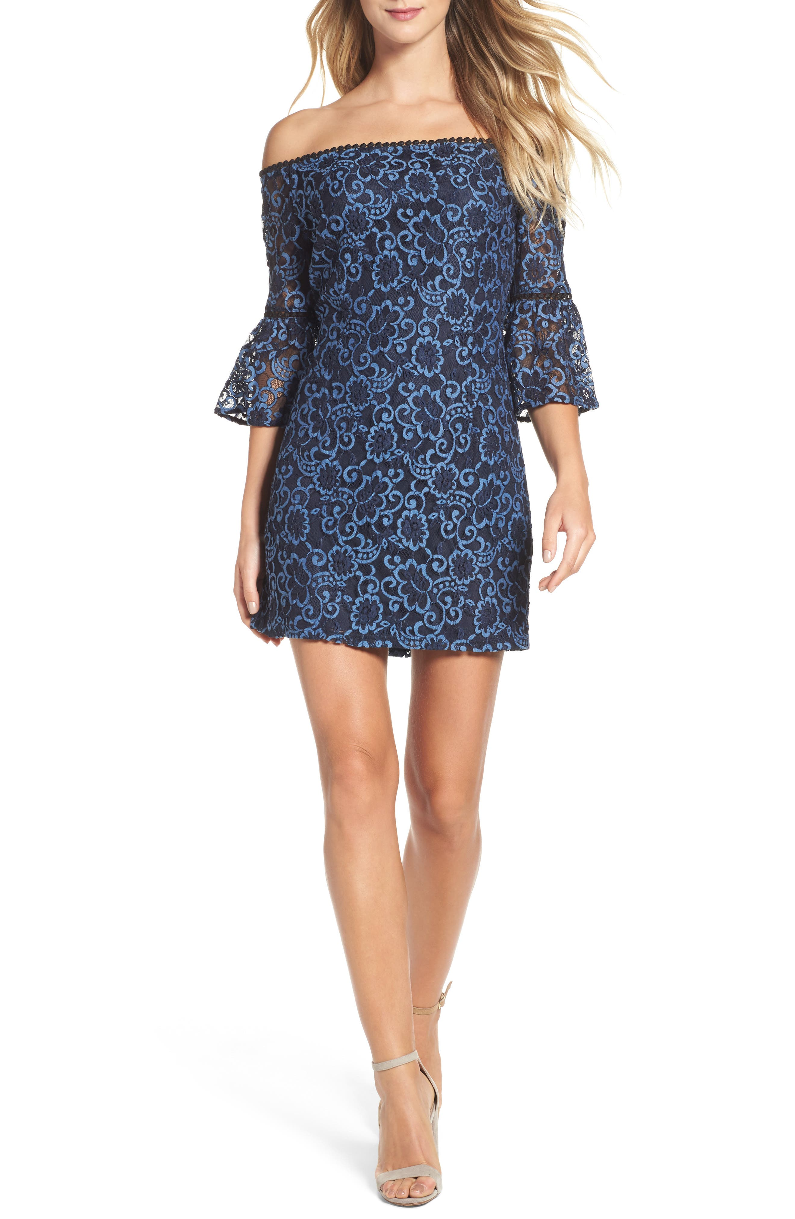 Danlyn Off the Shoulder Lace Minidress,                             Main thumbnail 1, color,                             Blue