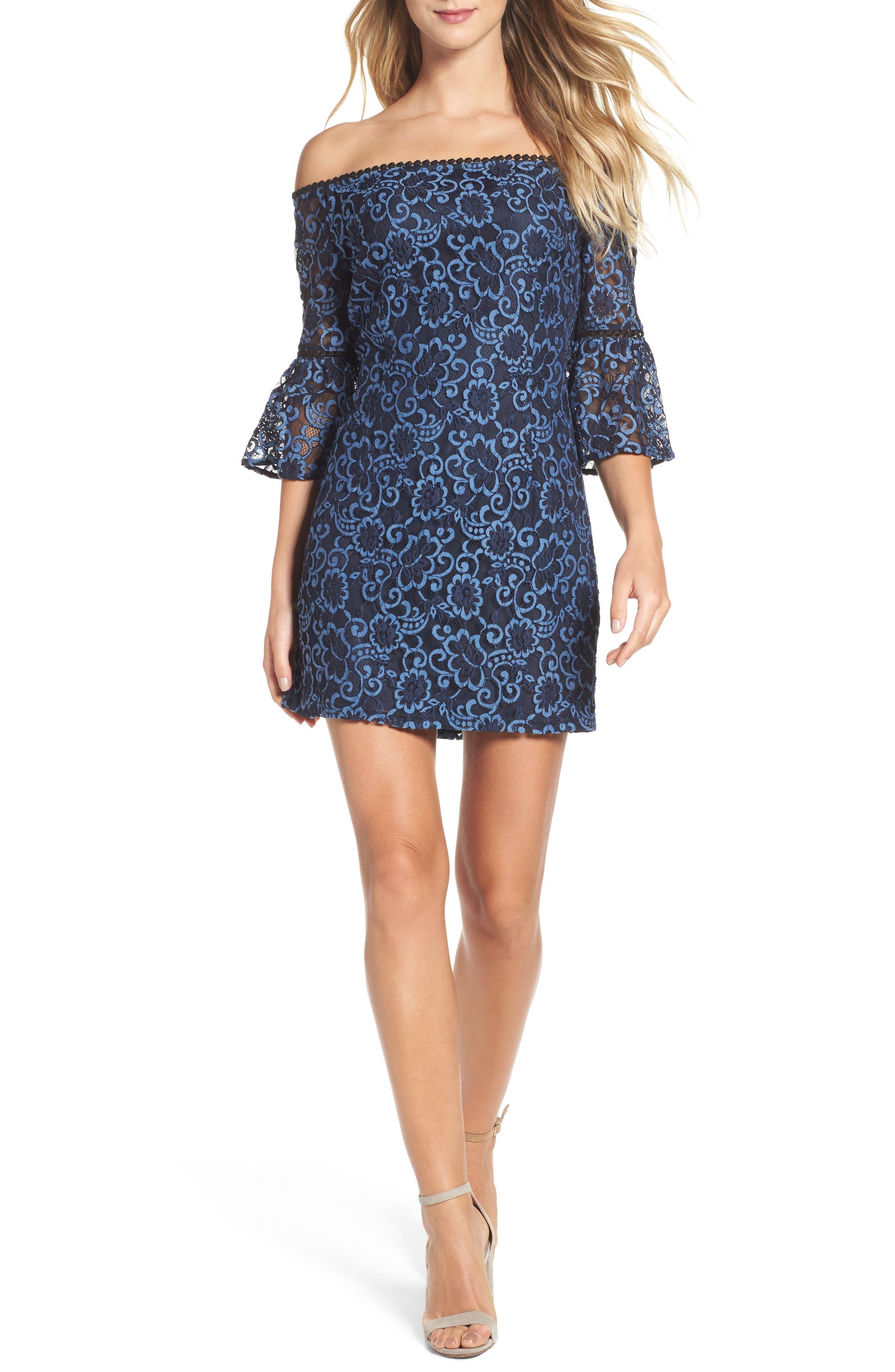 Main Image - BB Dakota Danlyn Off the Shoulder Lace Minidress
