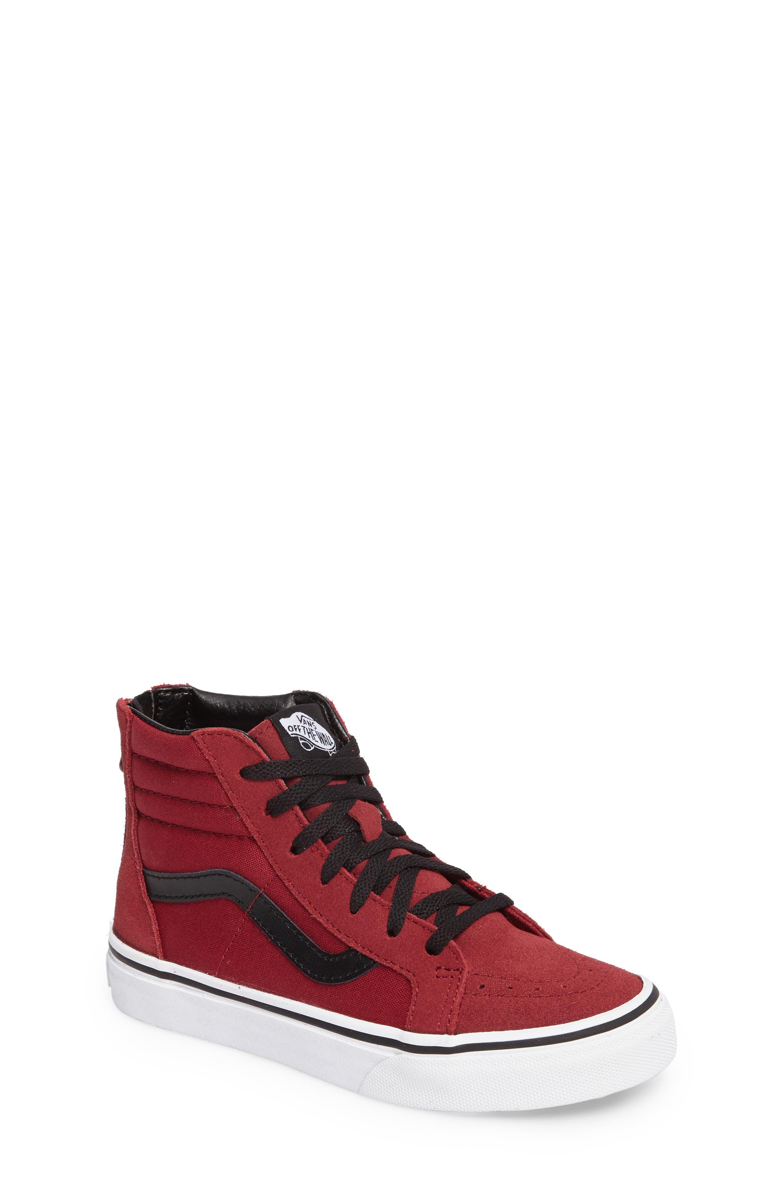 SK8-Hi Zip Sneaker,                             Main thumbnail 1, color,                             Tibetan Red/ Black