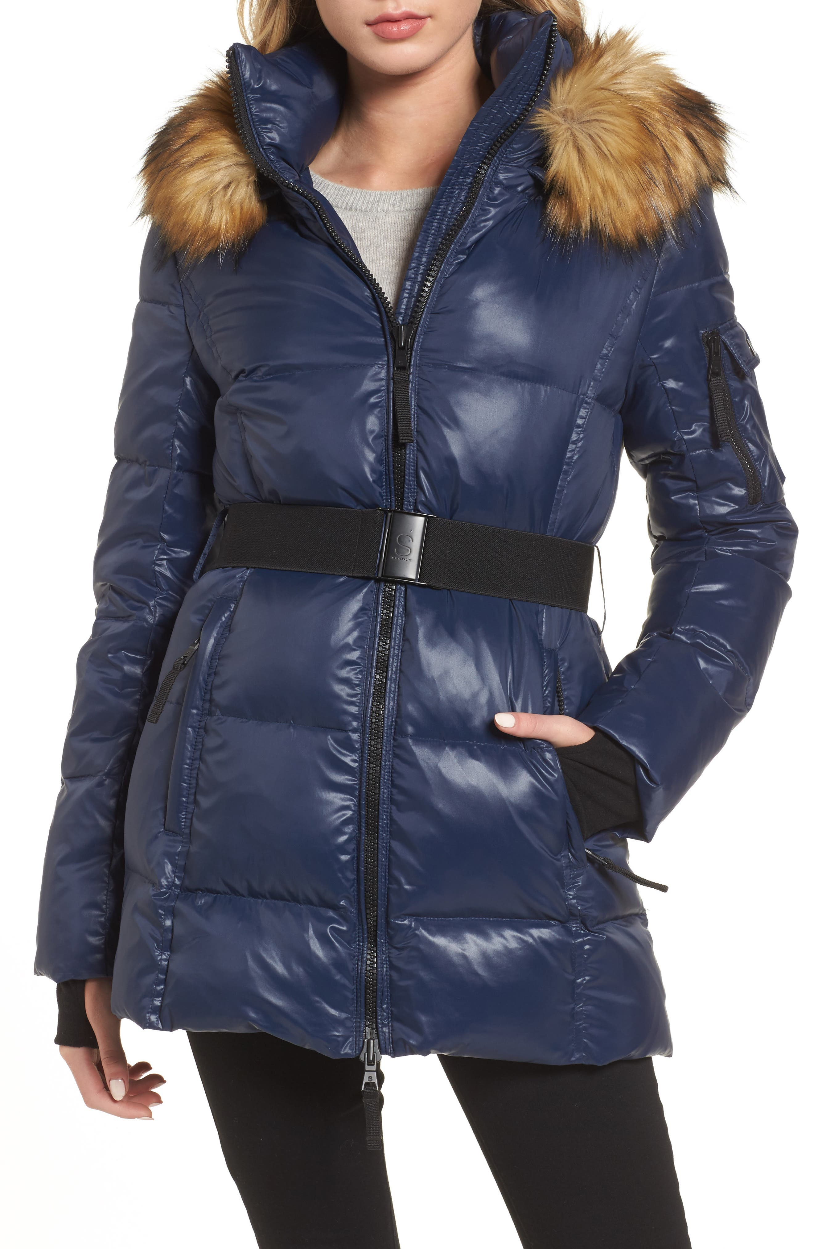 S13 'Nicky' Quilted Coat with Removable Faux Fur Trimmed Hood