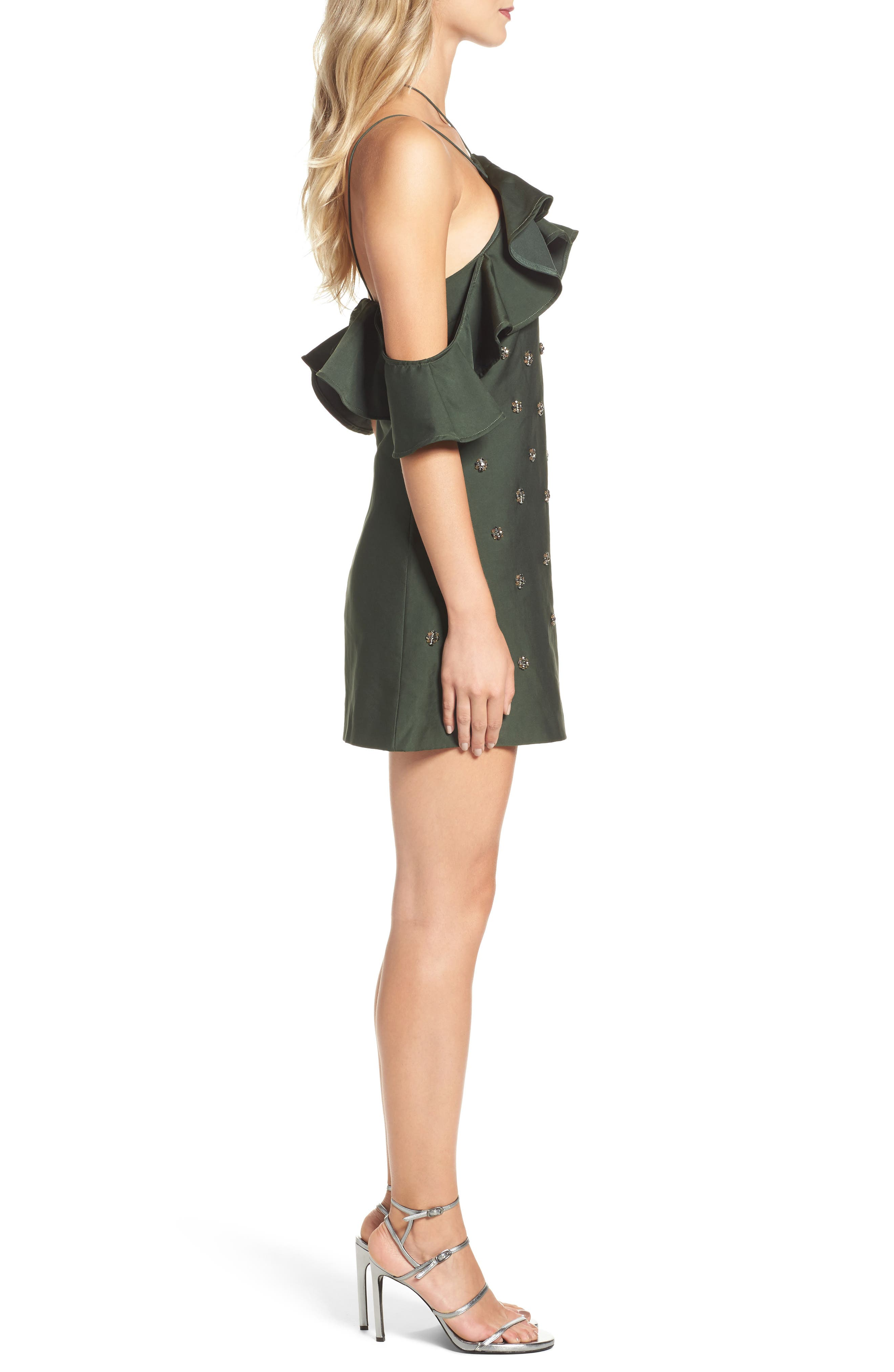 Assemble Embellished Shift Dress,                             Alternate thumbnail 3, color,                             Forest