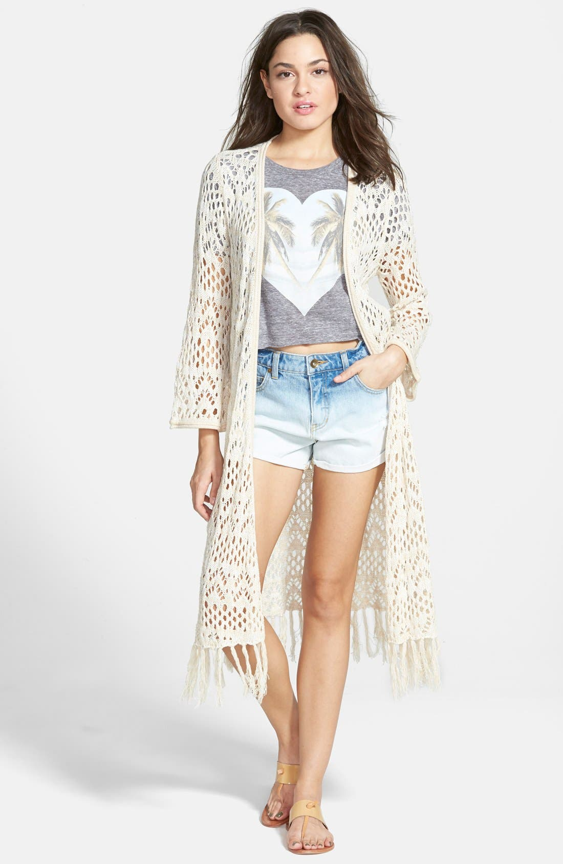 Main Image - Billabong 'Full of Sunshine' Crochet Fringe Cardigan