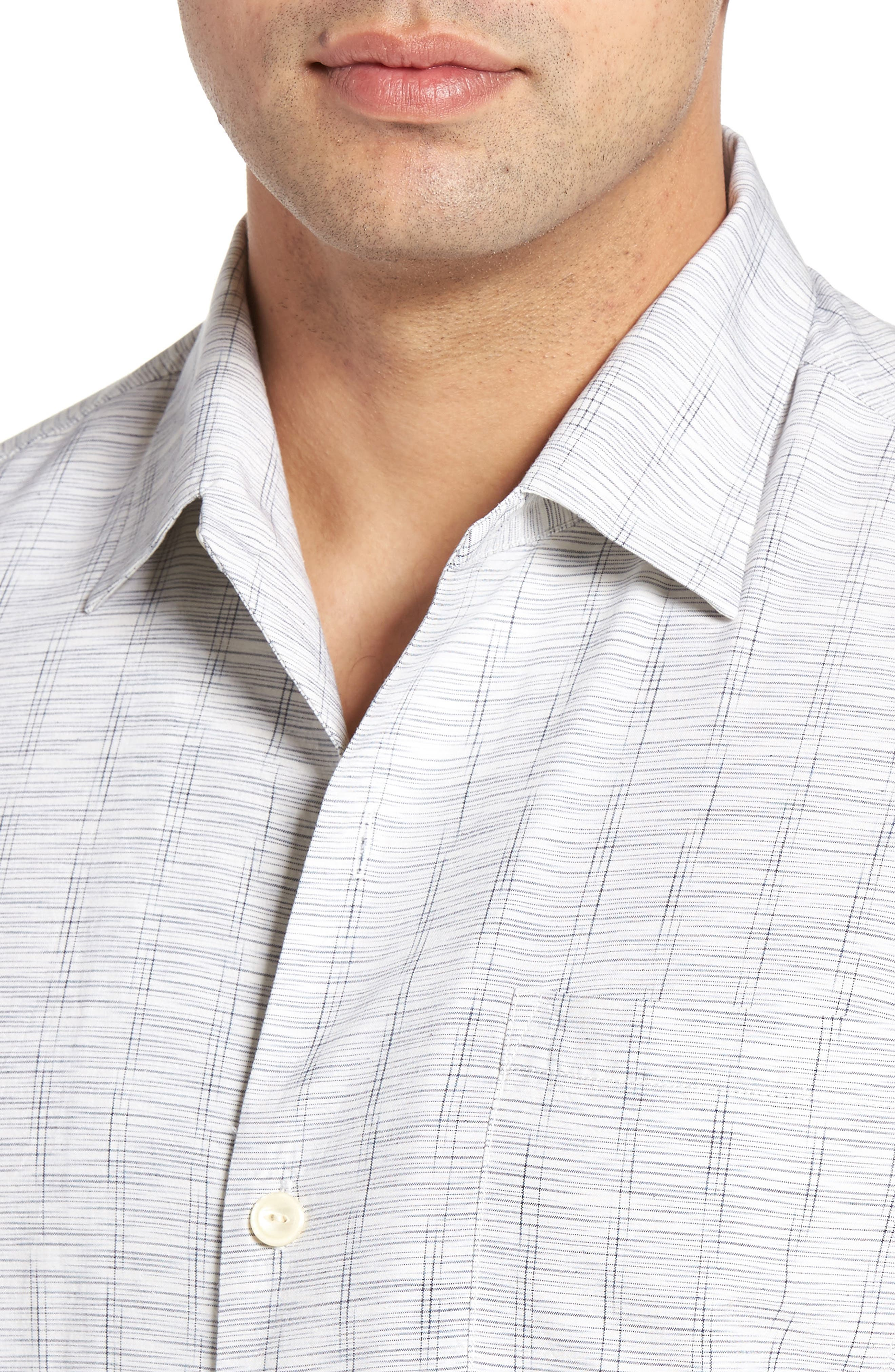 Seismic Stripe Silk Sport Shirt,                             Alternate thumbnail 4, color,                             Bright White