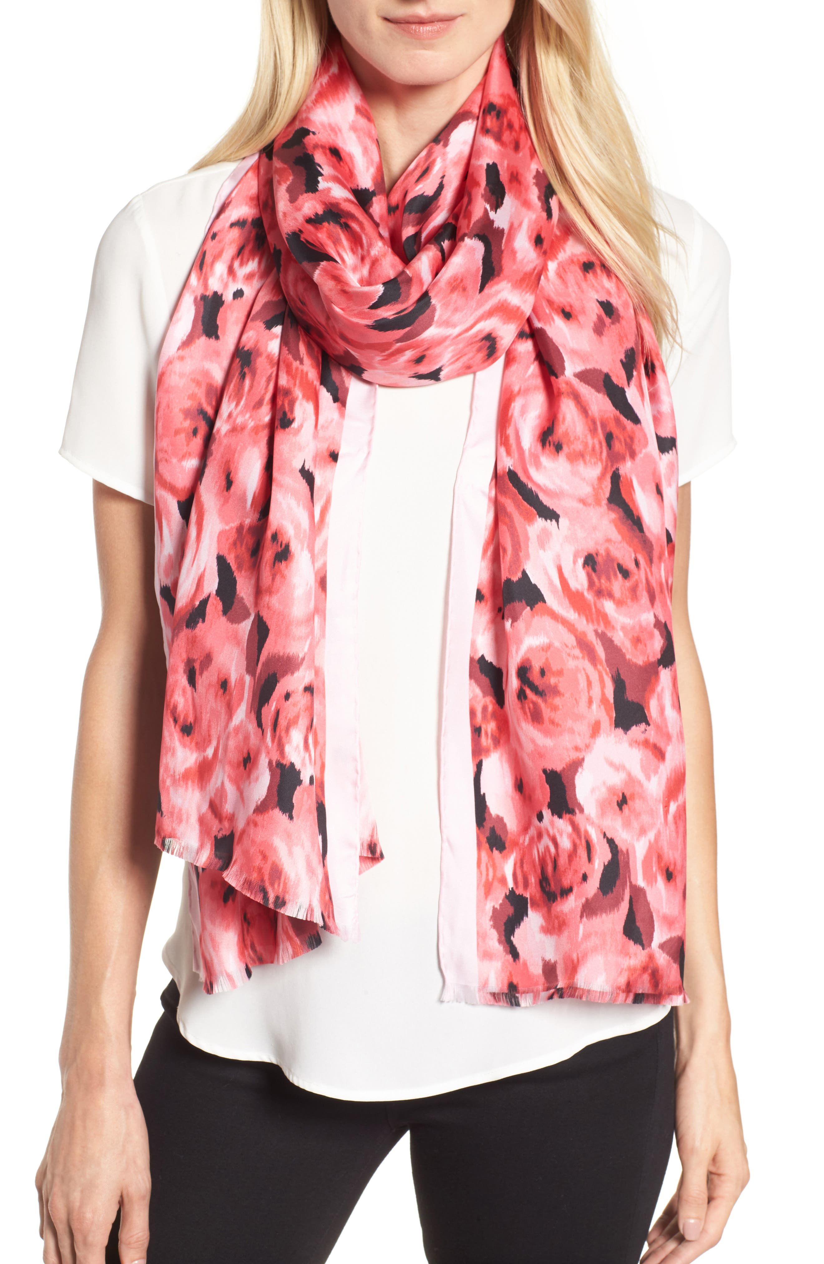 tapestry rose silk oblong scarf,                         Main,                         color, Petunia