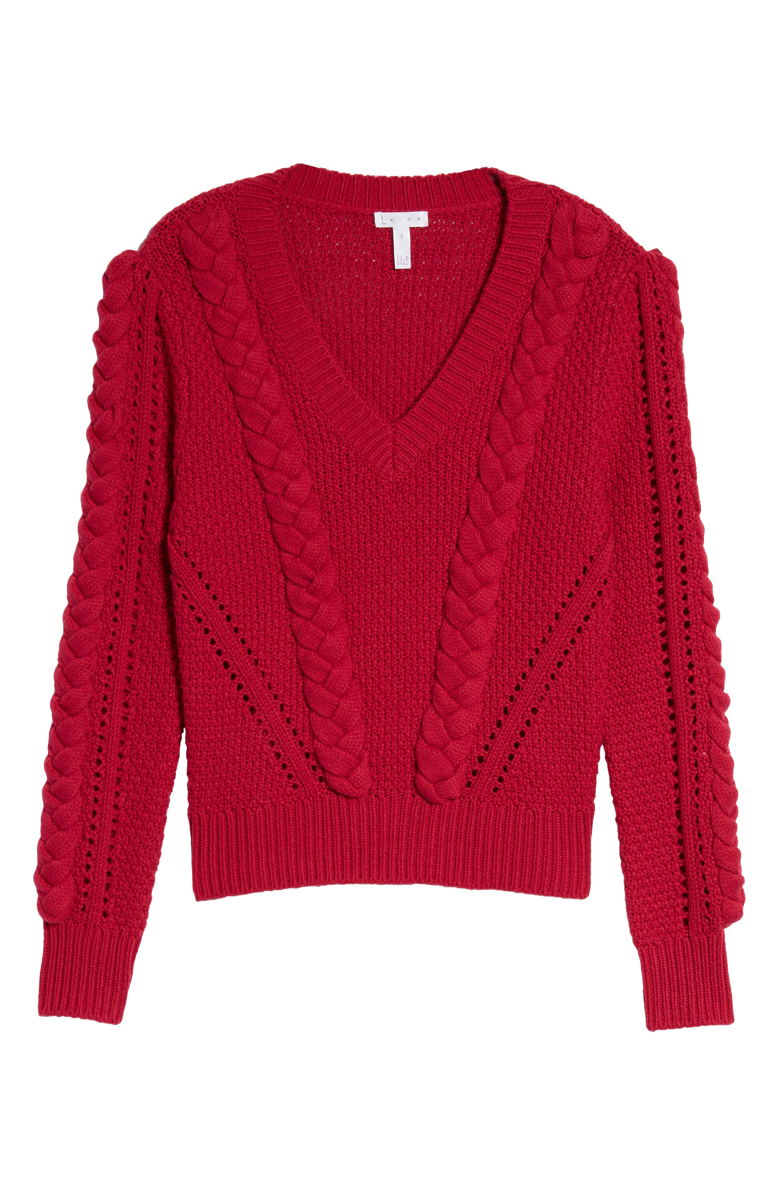 Power Cable Sweater,                             Alternate thumbnail 6, color,                             Red Cerise