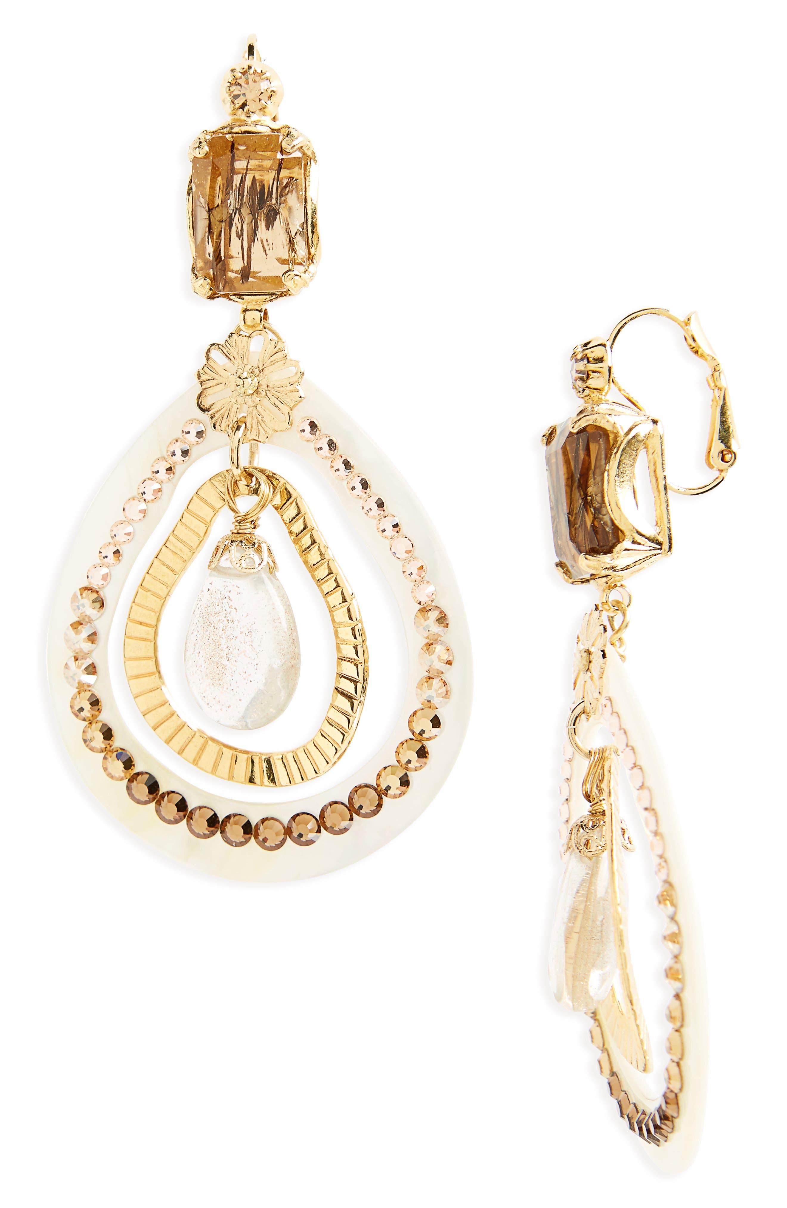 Regina Clip Earrings,                         Main,                         color, Brown/ Gold