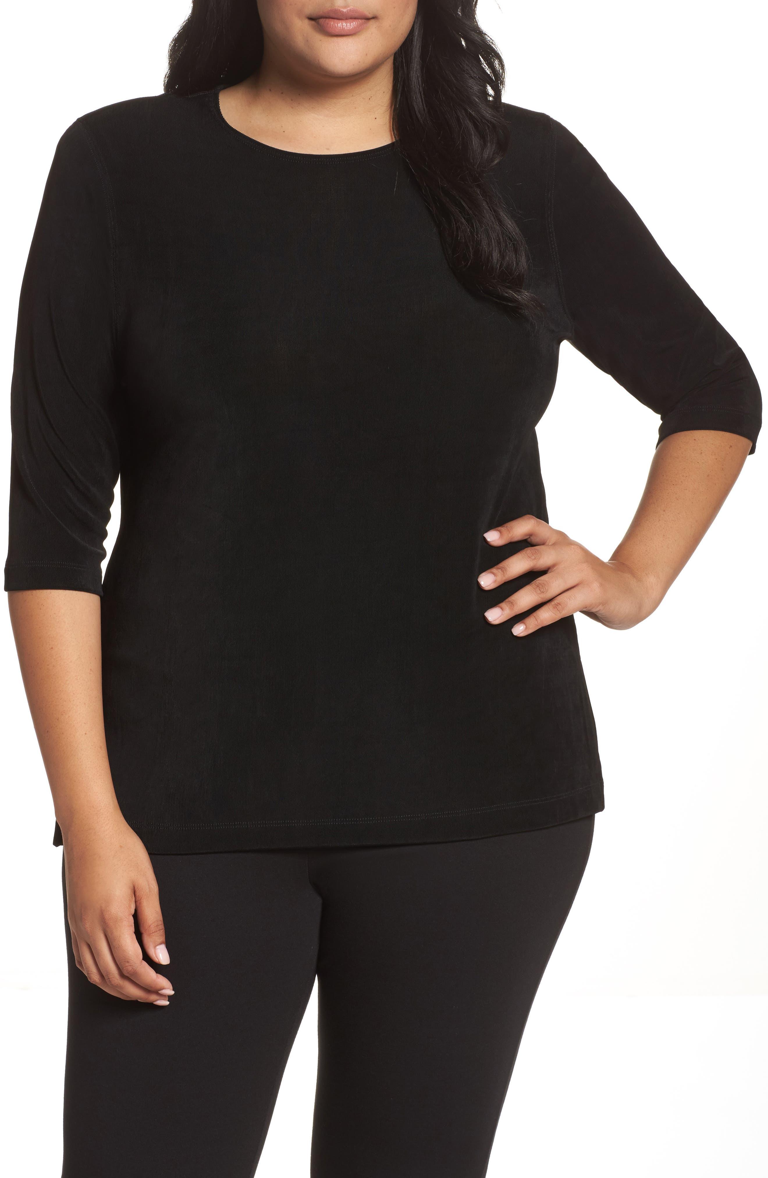 Vikki Vi Three Quarter Sleeve Top (Plus Size)