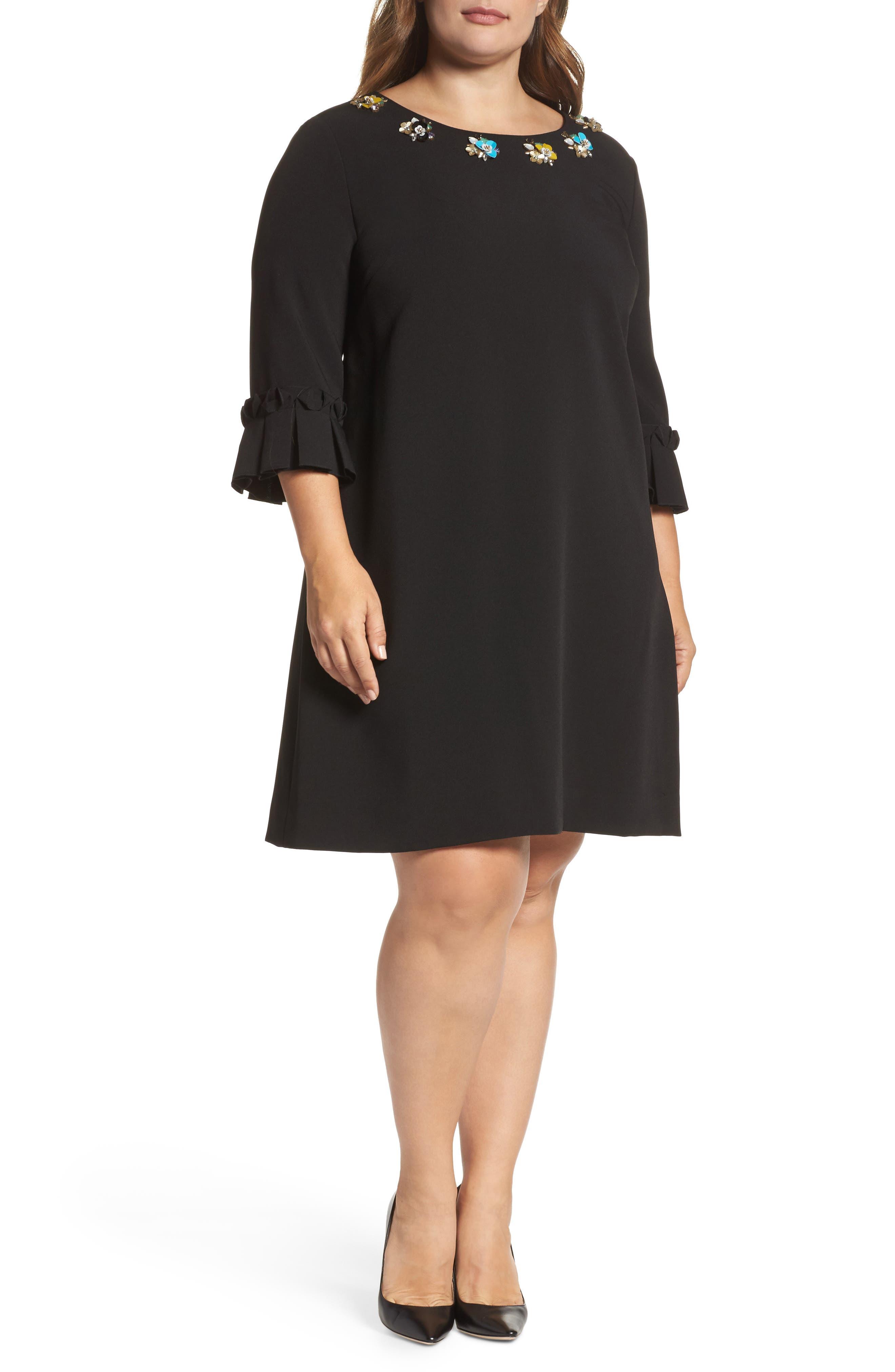 Embellished Bell Sleeve Shift Dress,                         Main,                         color, Black