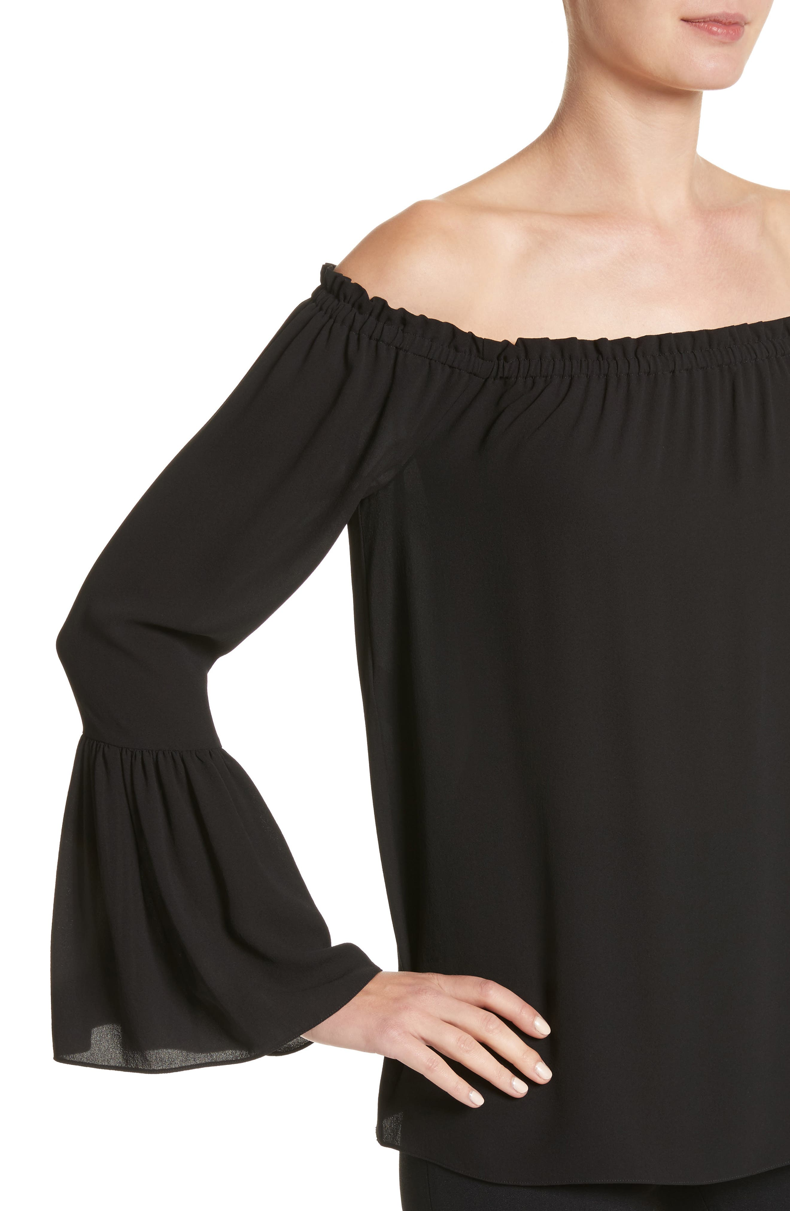 Alternate Image 4  - Michael Kors Silk Georgette Off the Shoulder Top