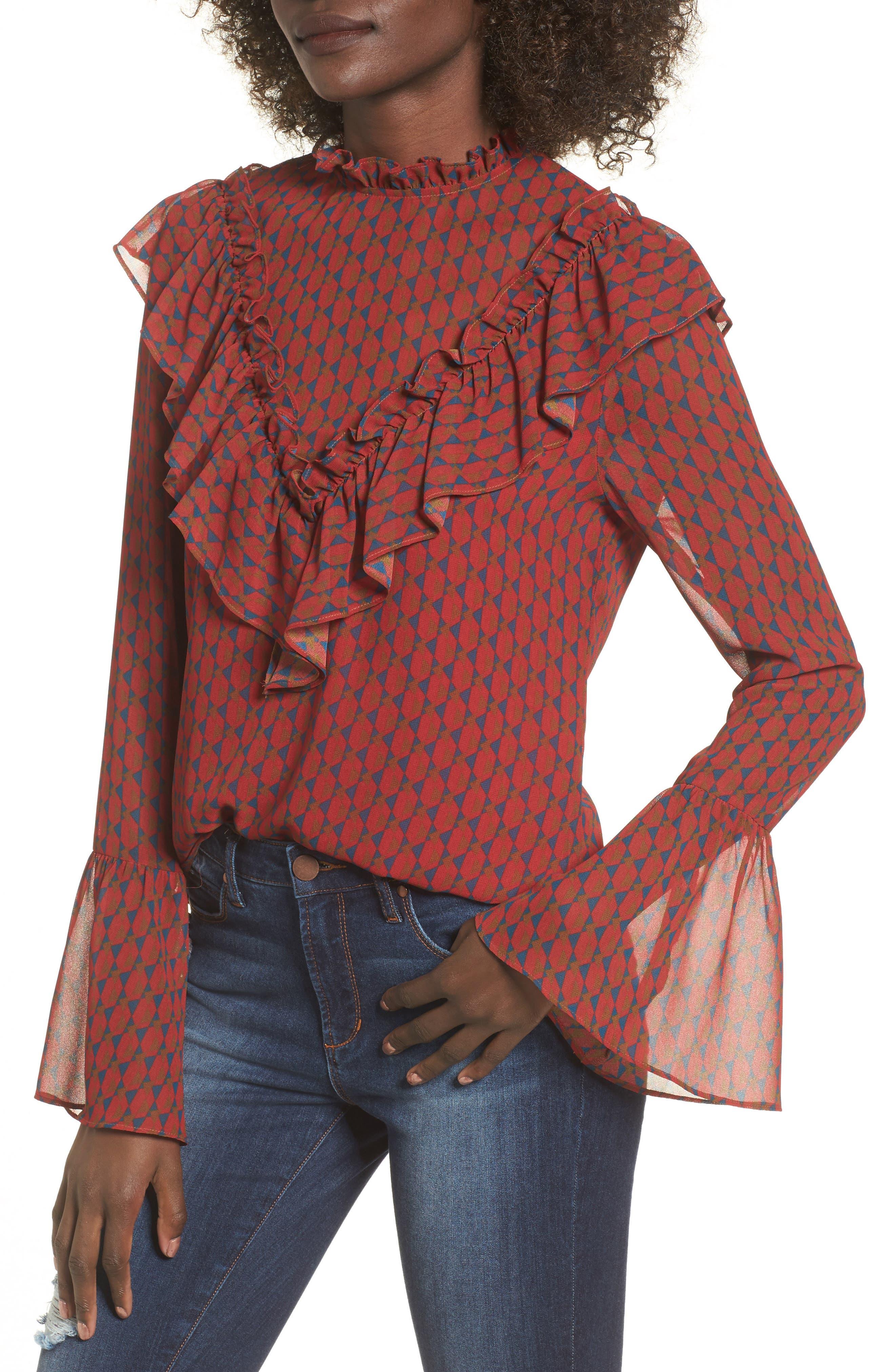 Eryn Ruffle Bell Sleeve Blouse,                         Main,                         color, Geometric Print