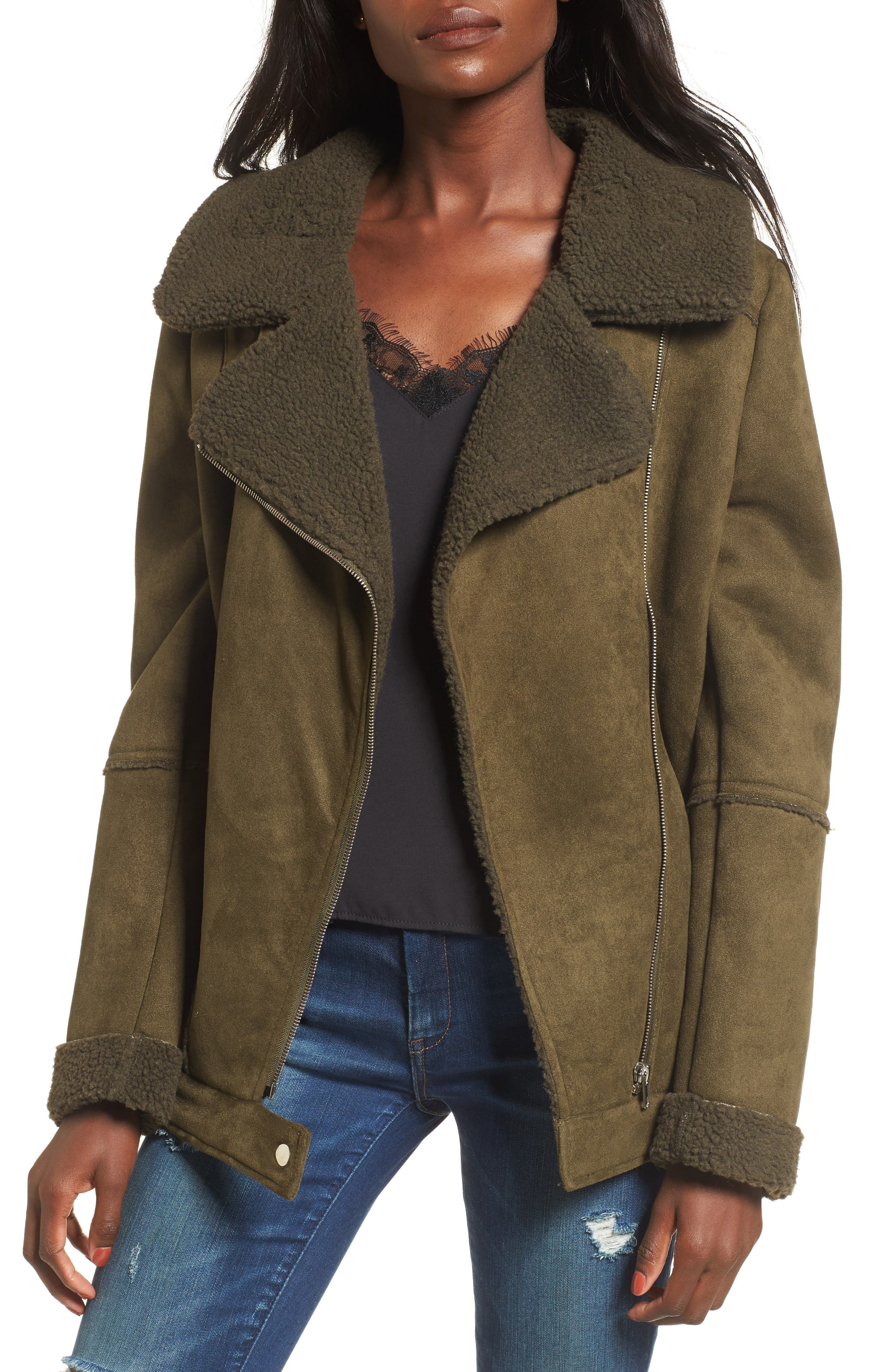 Dallas Faux Shearling Jacket,                         Main,                         color, Olive