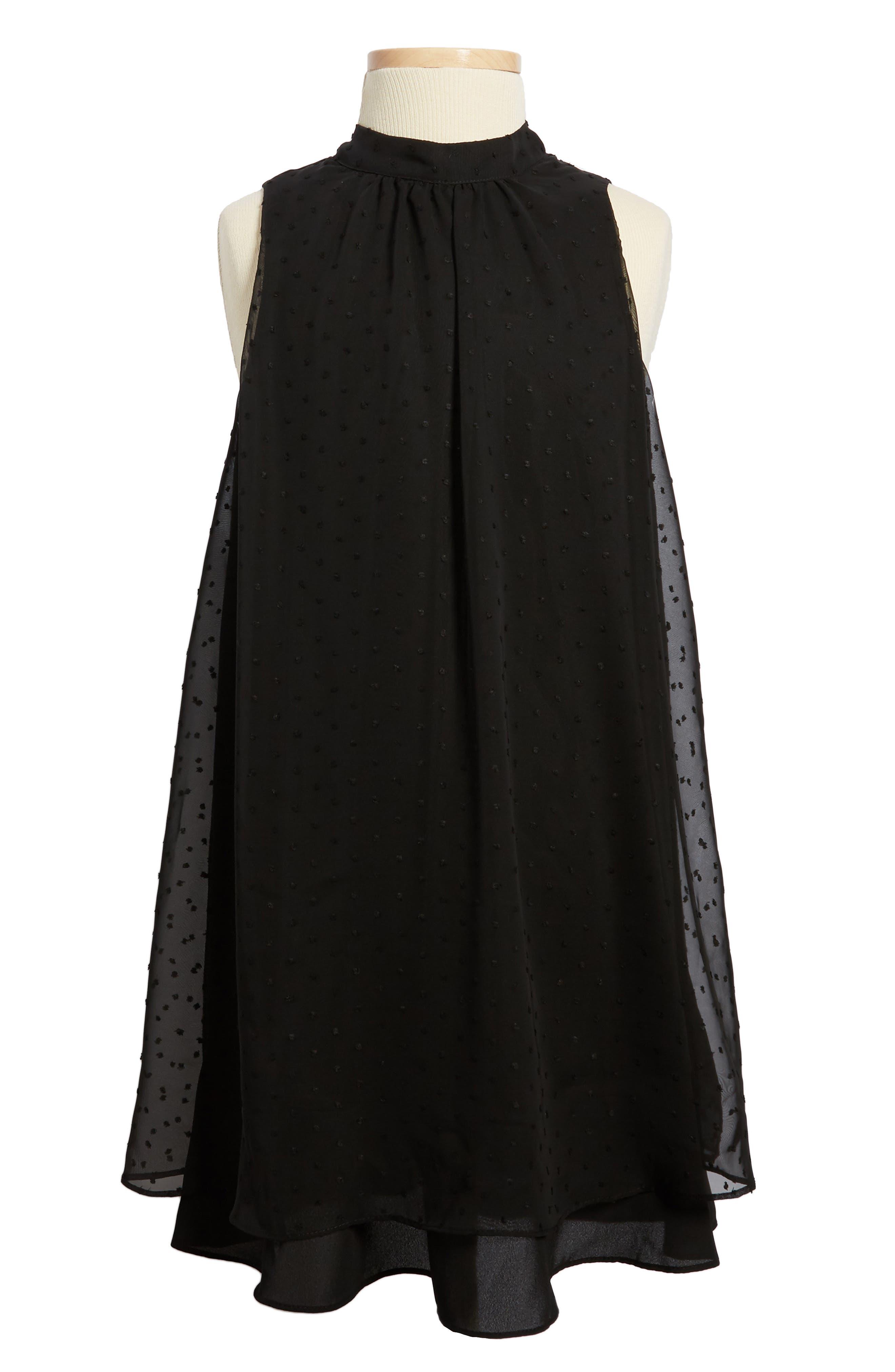 Main Image - Soprano Swiss Dot Swing Dress (Big Girls)