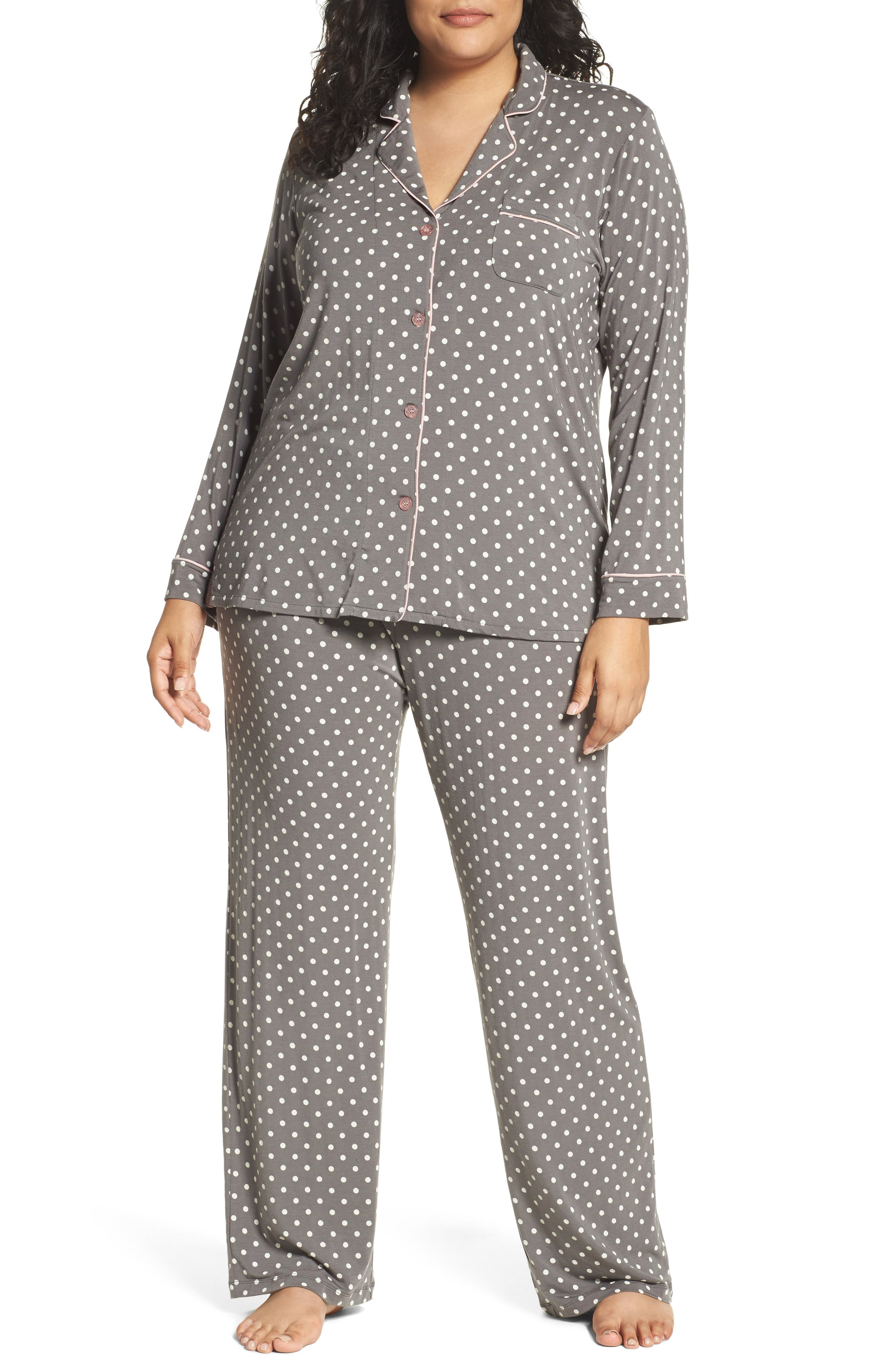 Polka Dot Pajamas,                             Main thumbnail 1, color,                             Charcoal