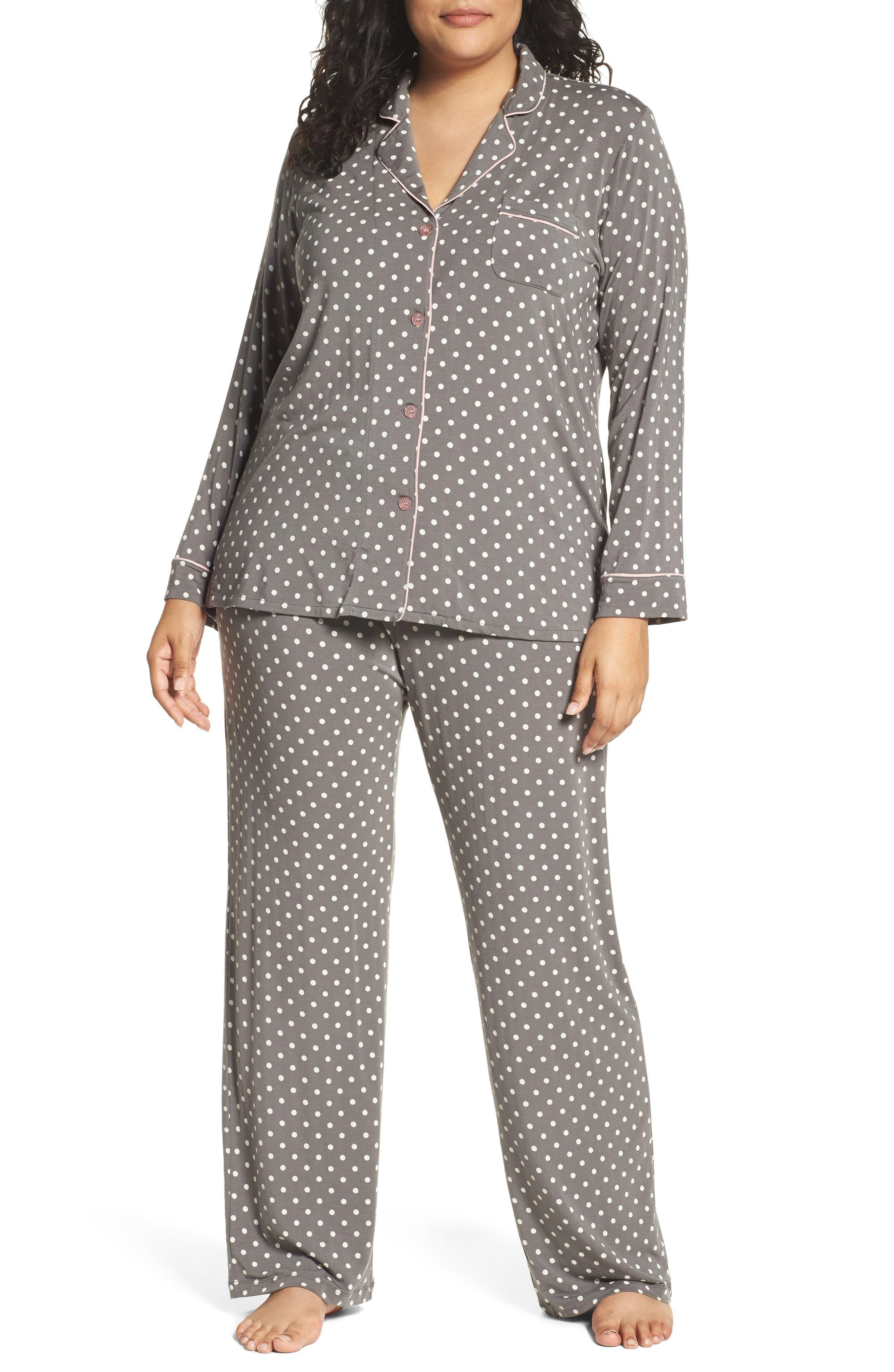 Polka Dot Pajamas,                         Main,                         color, Charcoal