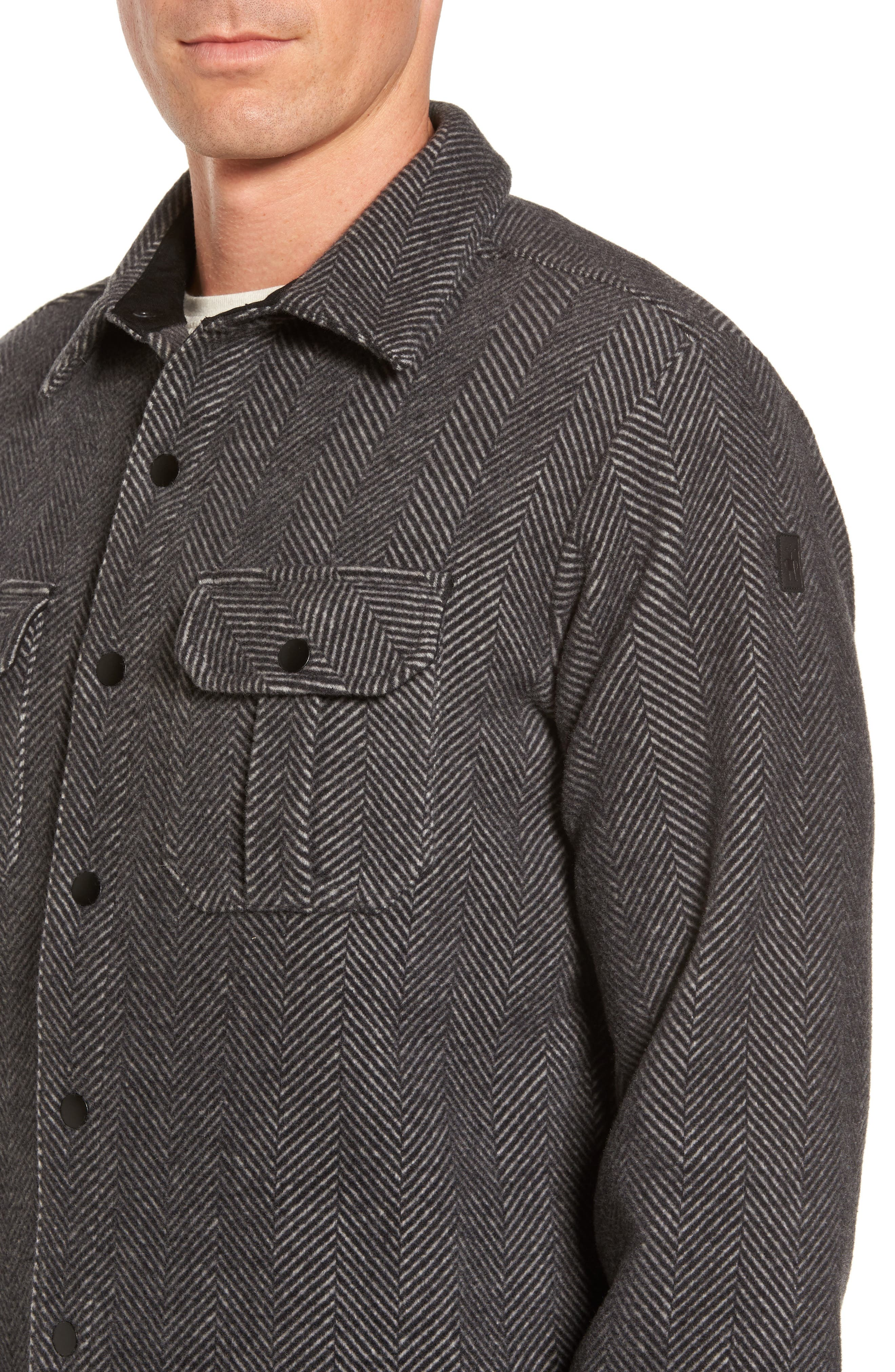 Anchor Line Herringbone Wool Blend Shirt Jacket,                             Alternate thumbnail 4, color,                             Charcoal Heather