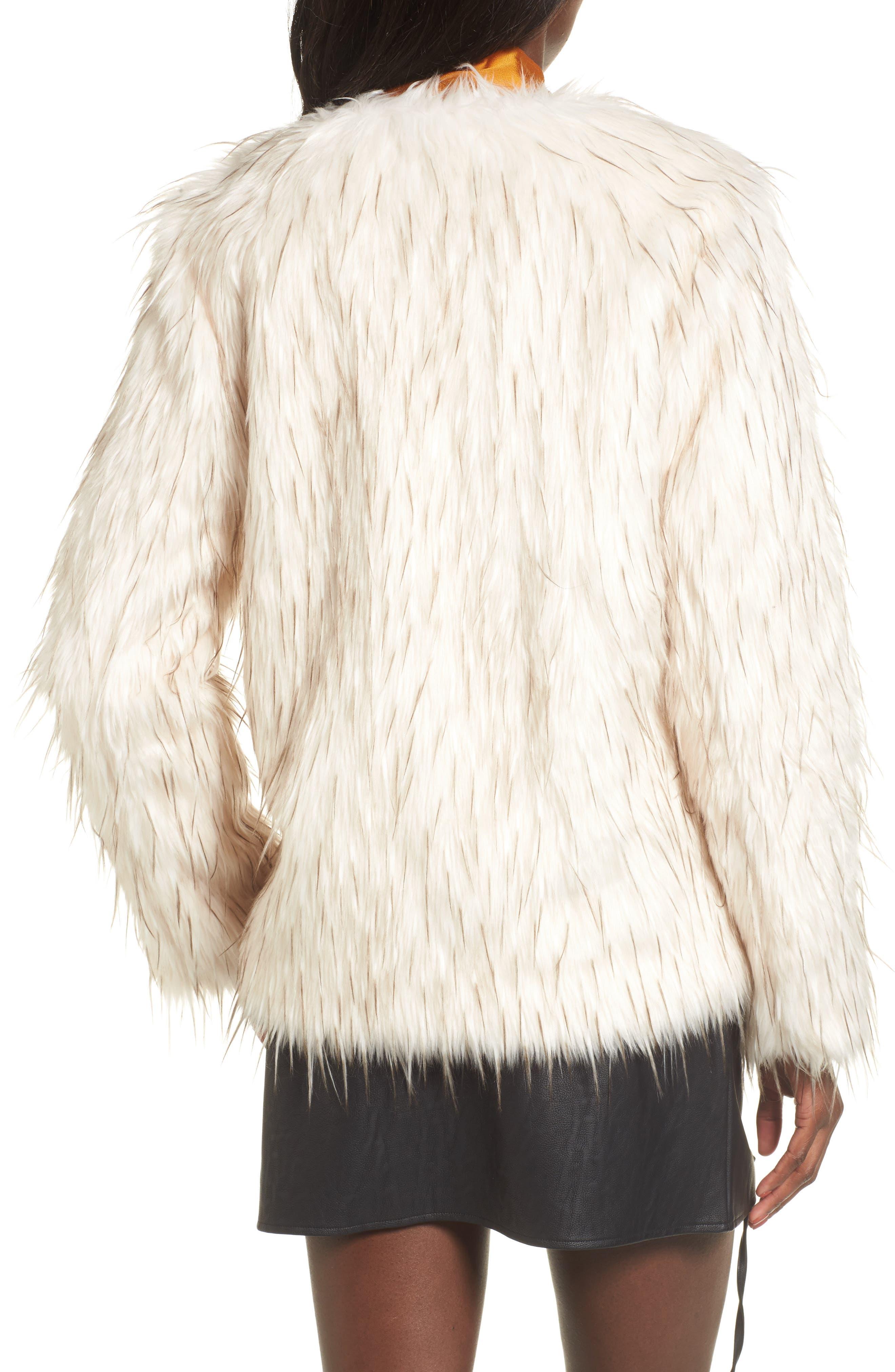 Aurora Faux Fur Jacket,                             Alternate thumbnail 3, color,                             Ivory