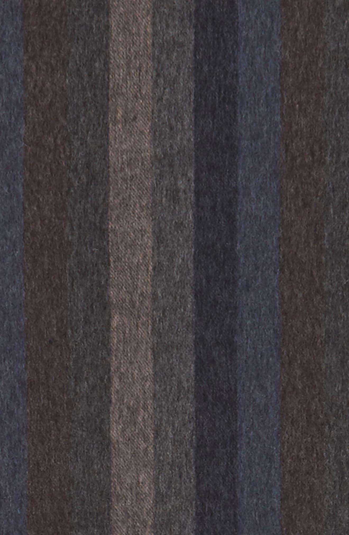 Lambswool Stripe Scarf,                             Alternate thumbnail 3, color,                             Brown - Navy Vertical Stripe
