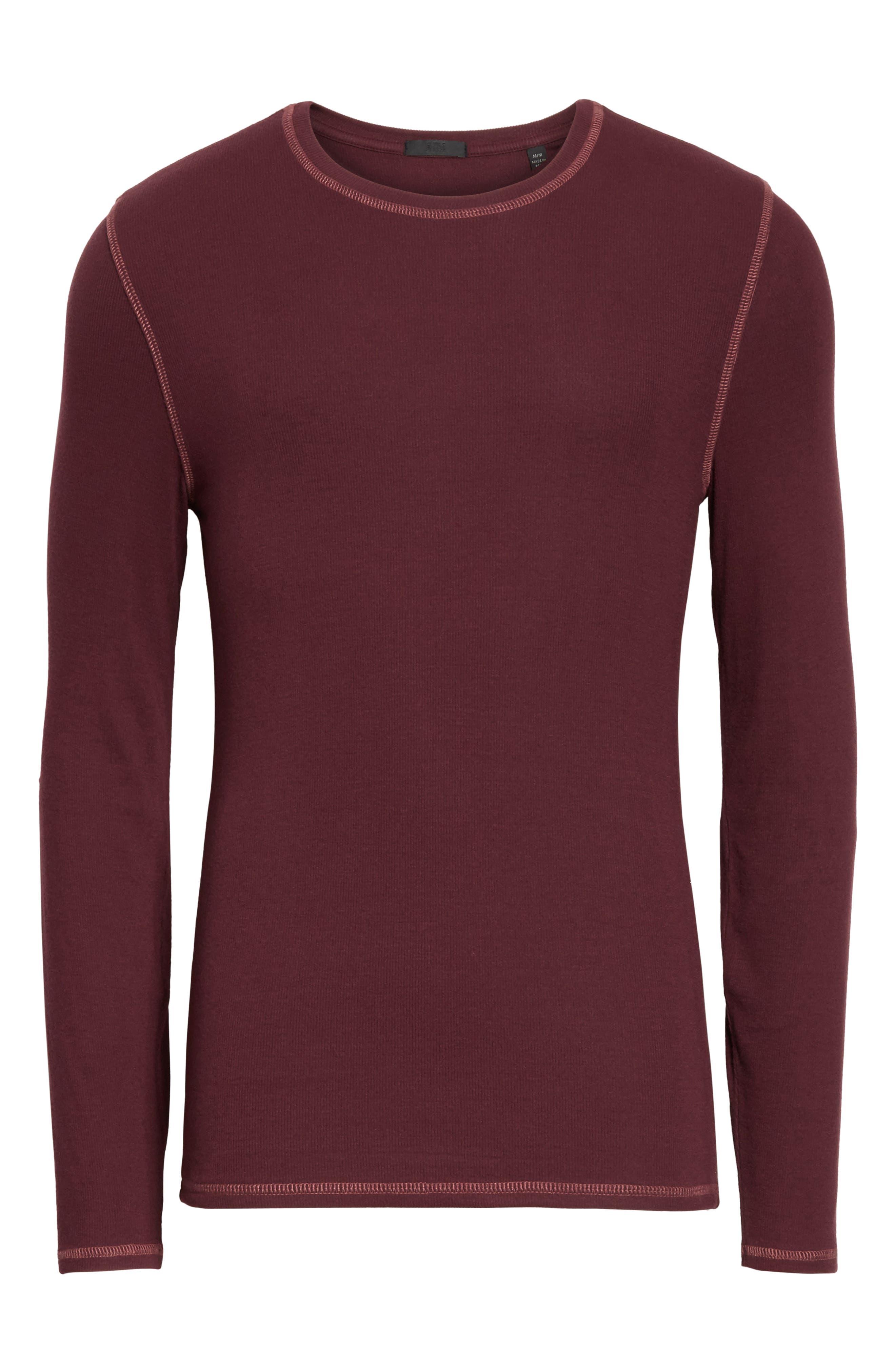 Rib Modal Crewneck Sweater,                             Alternate thumbnail 6, color,                             Merlot