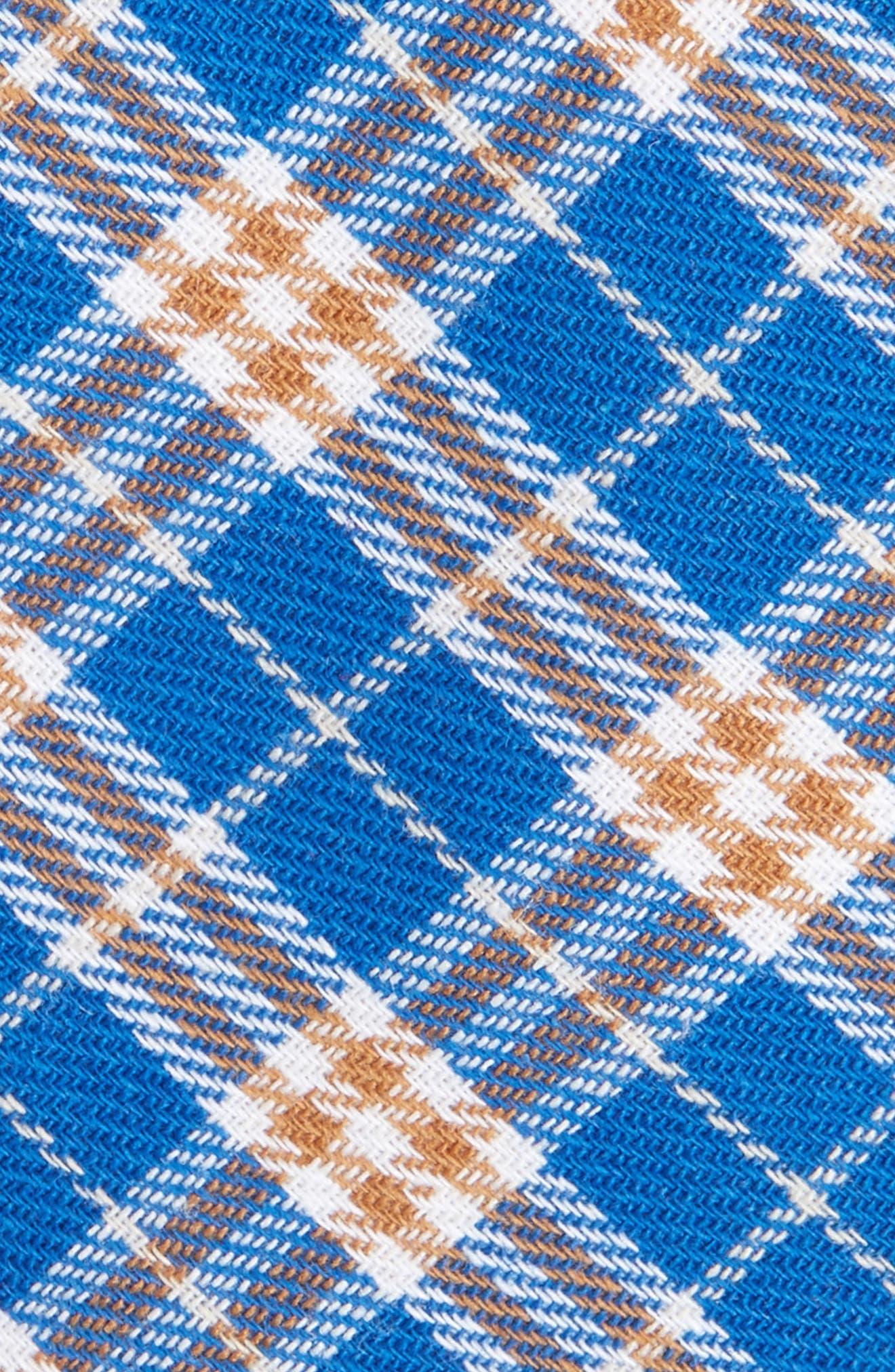 Siegel Plaid Cotton & Linen Skinny Tie,                             Alternate thumbnail 2, color,                             Blue