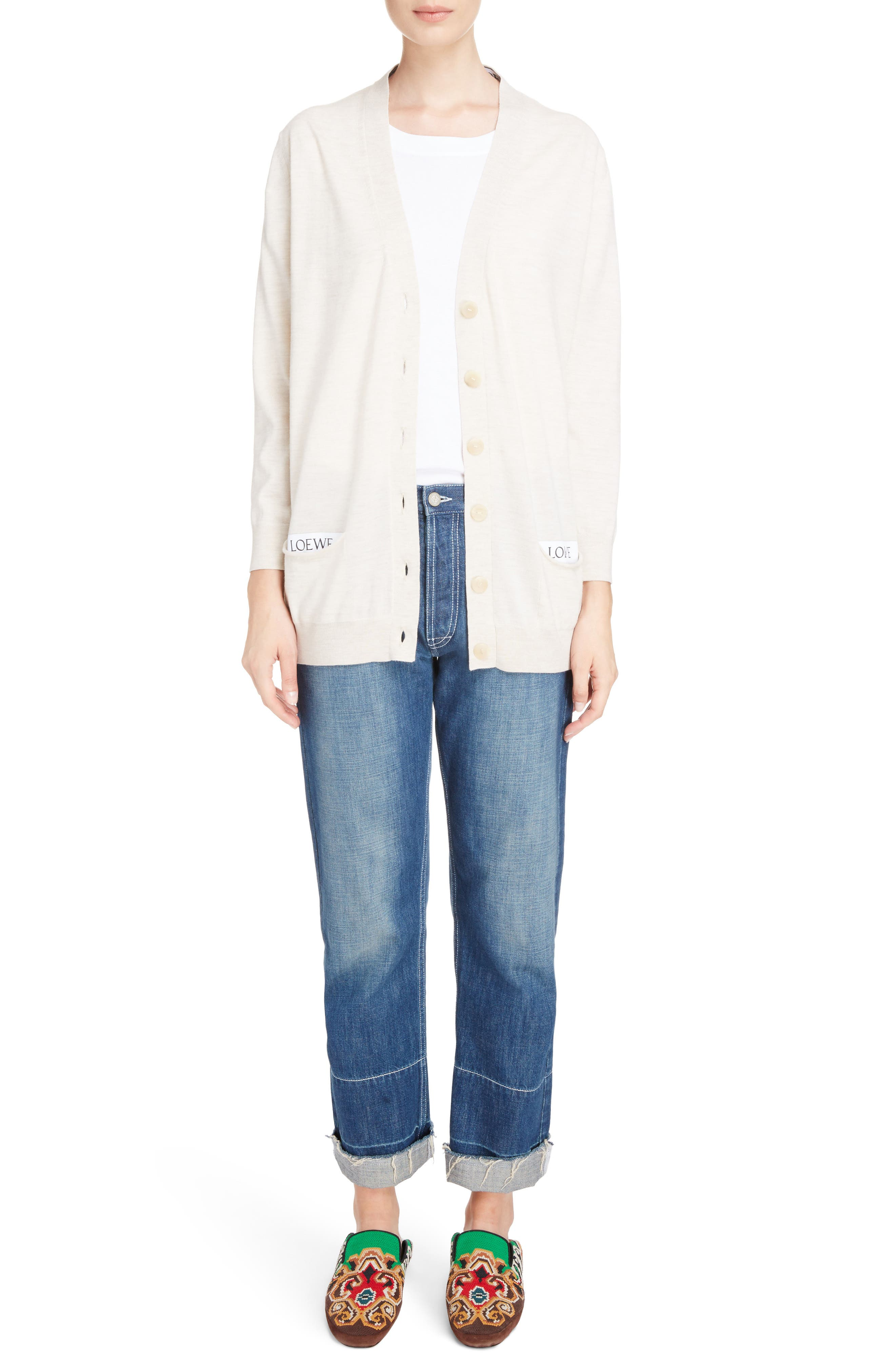Embroidered Crop Straight Leg Jeans,                             Alternate thumbnail 4, color,                             Indigo