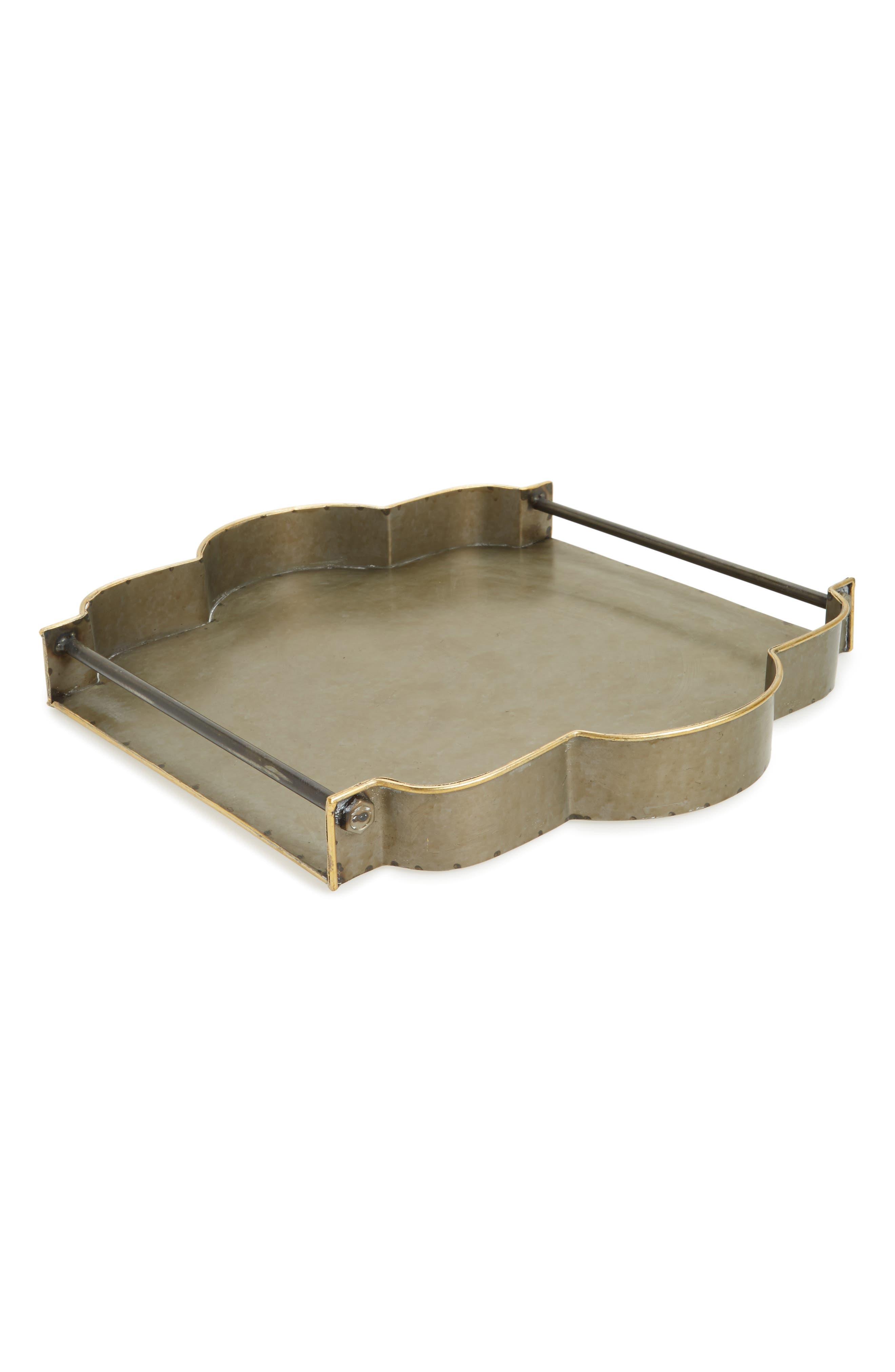 York Galvanized Tray,                         Main,                         color, Galvanized With Gold Rim