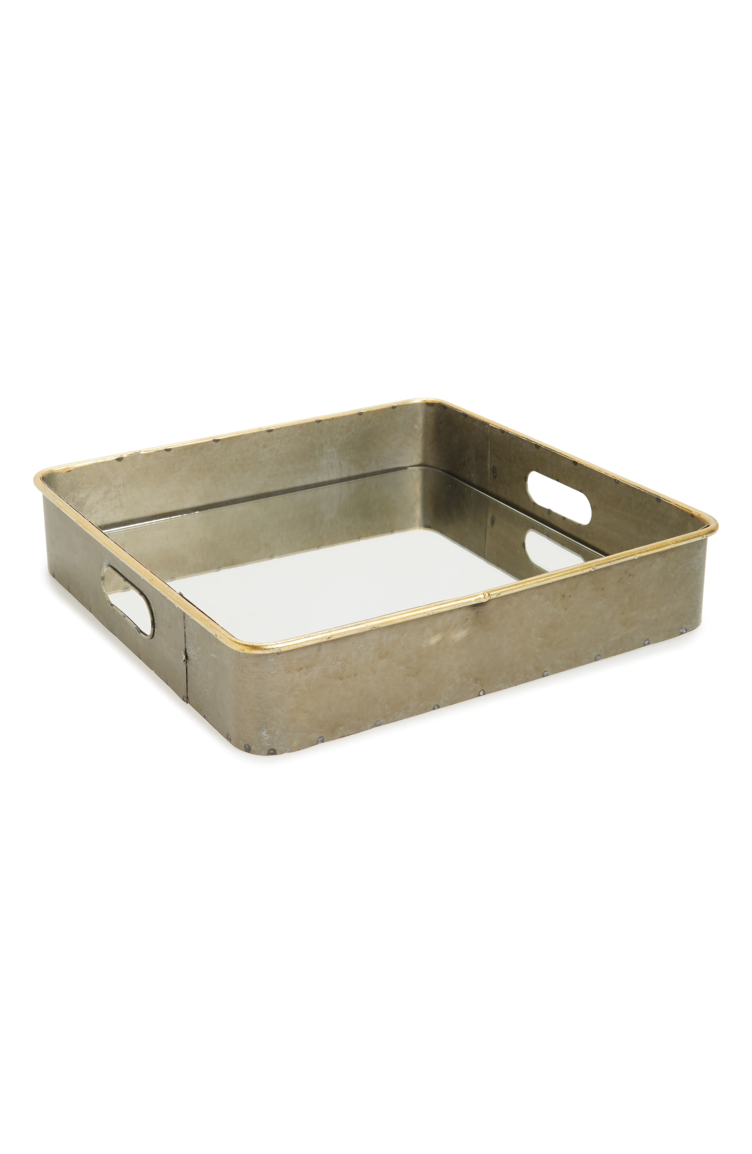 Costa Mirror Tray,                             Main thumbnail 1, color,                             Galvanized With Gold Rim