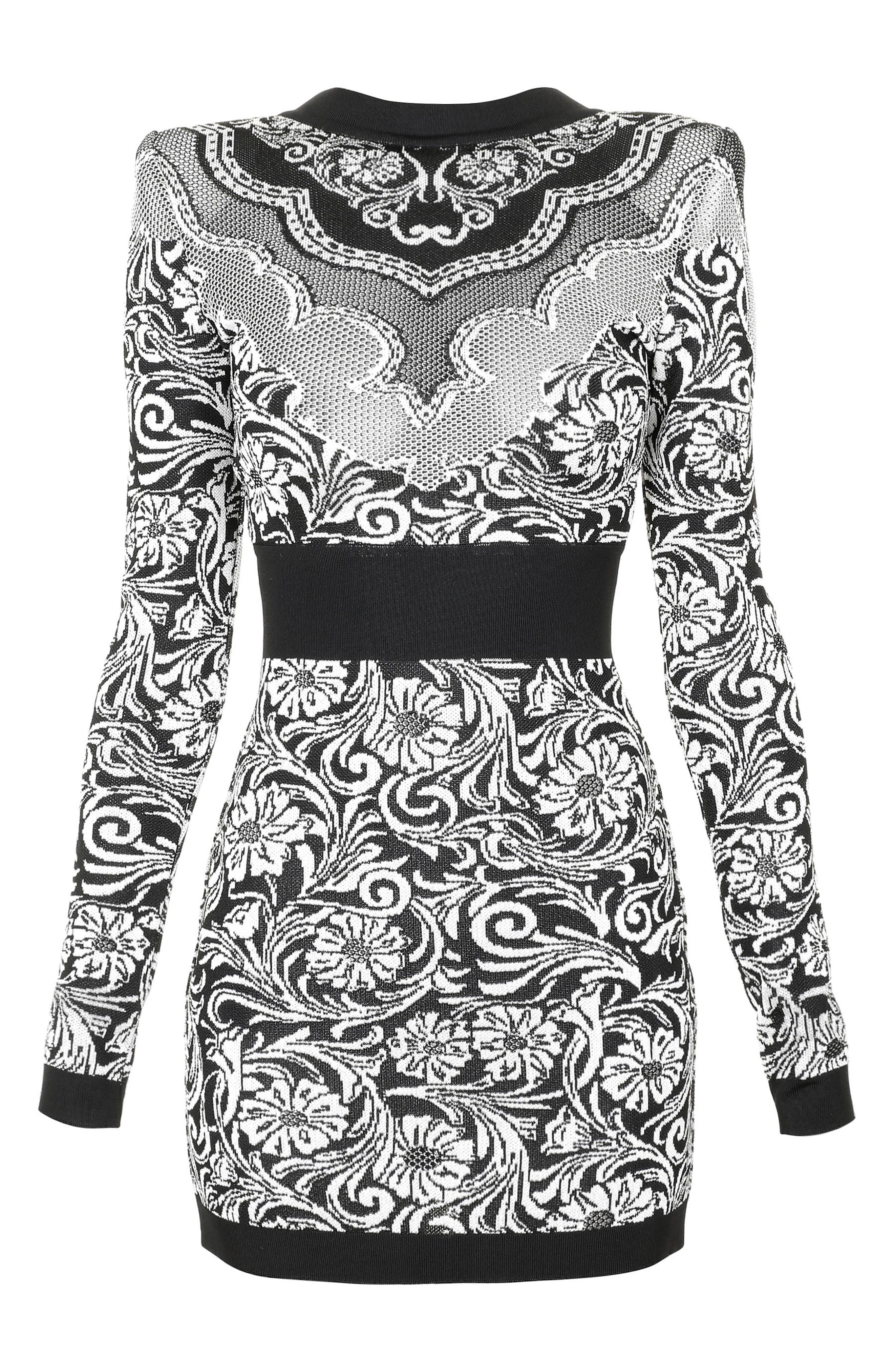 Baroque Knit Minidress,                             Alternate thumbnail 6, color,                             Black And White
