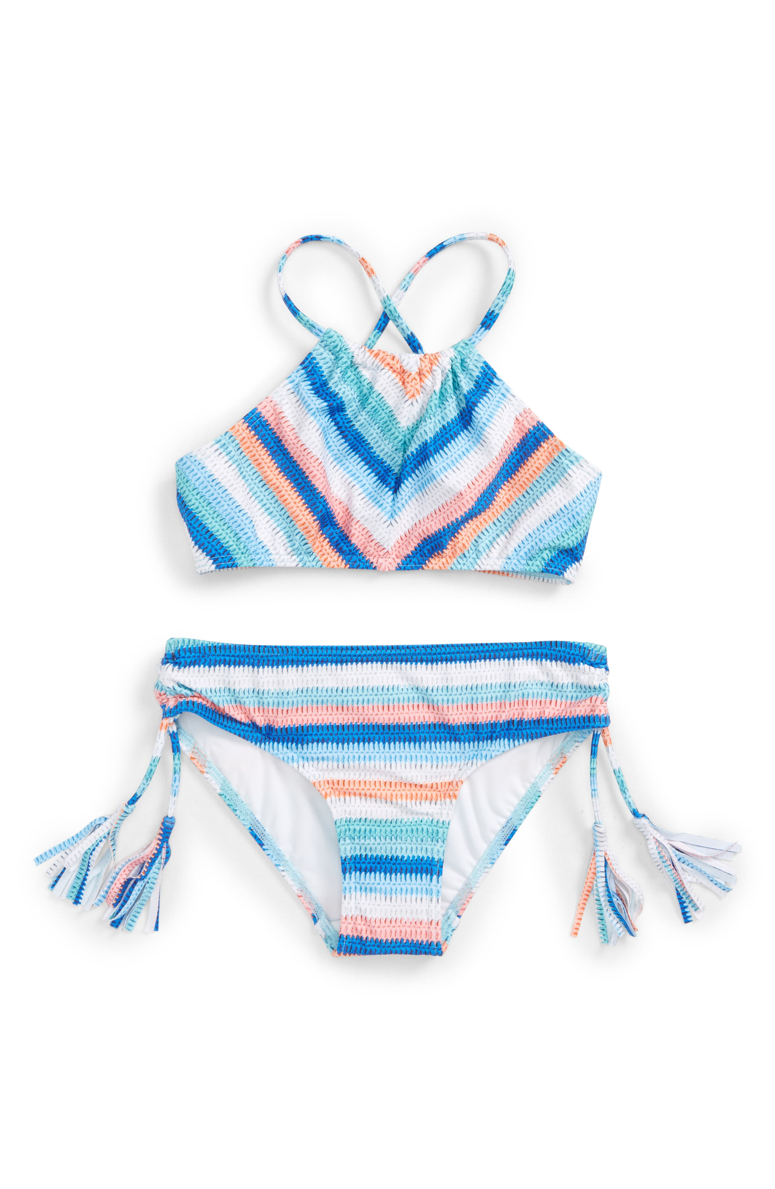 Main Image - Seafolly Moon Child Stripe Two-Piece Swimsuit (Big Girls)