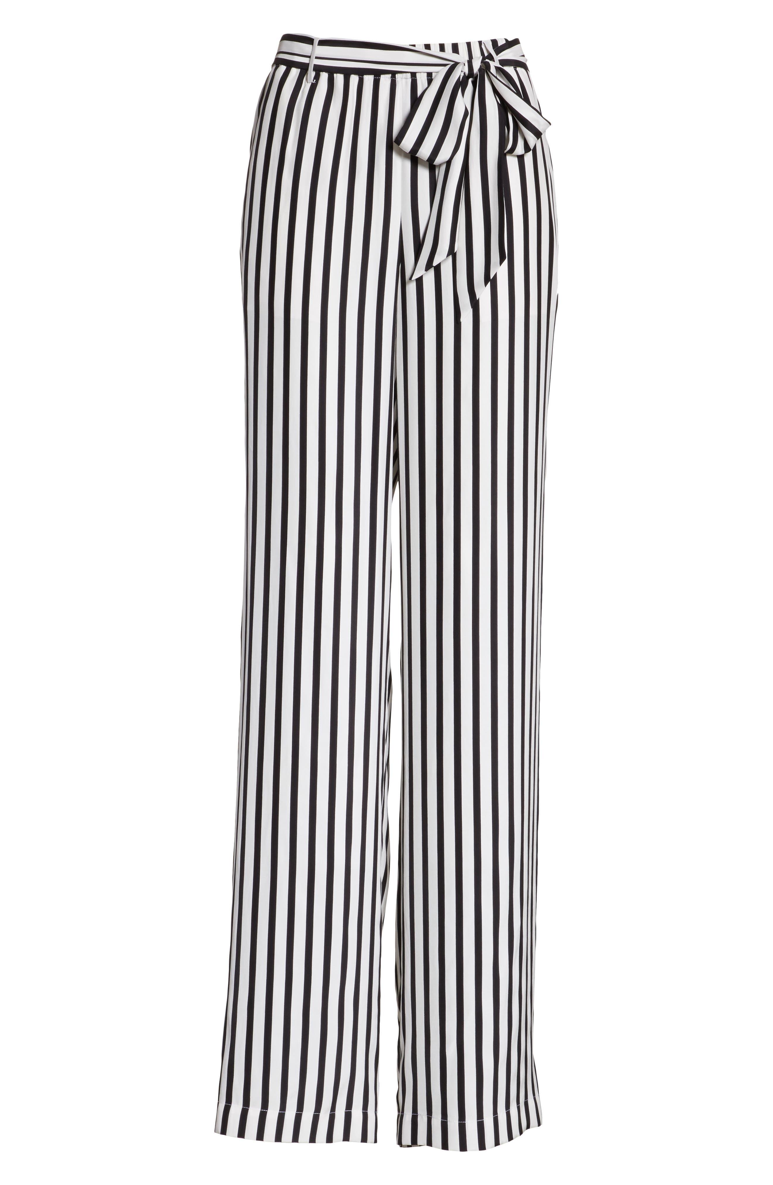 Stripe Wide Leg Silk Pants,                             Alternate thumbnail 7, color,                             Noir Multi