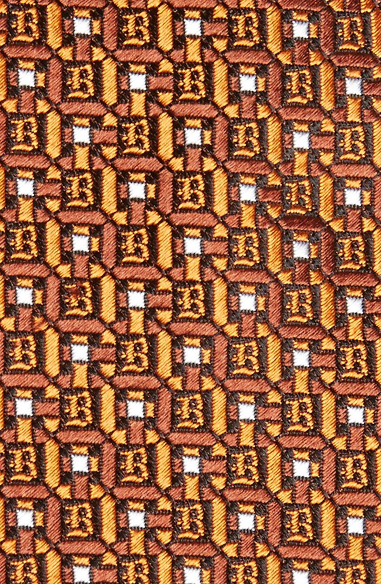Geometric Silk Tie,                             Alternate thumbnail 2, color,                             Orange/ Brown