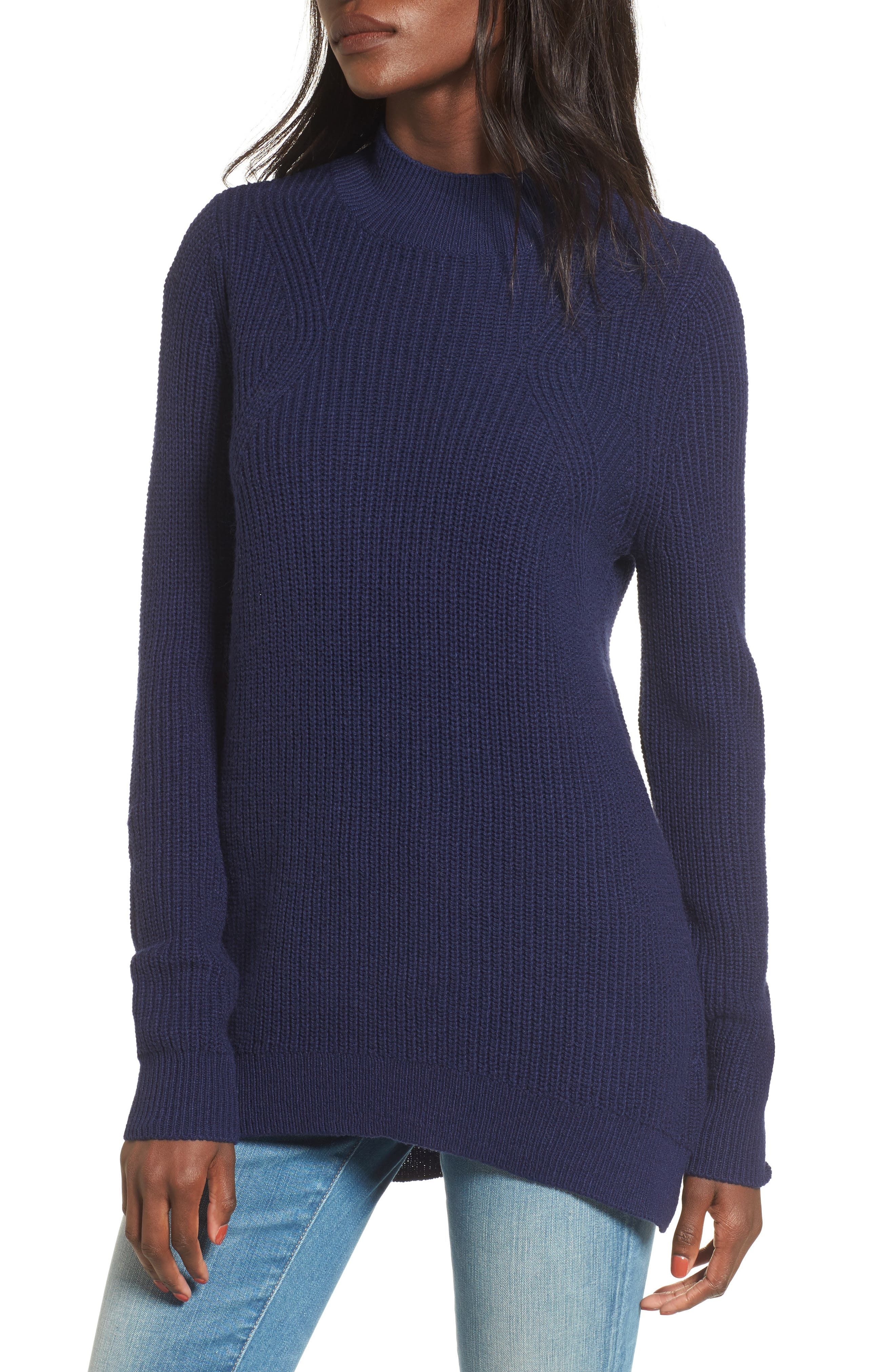 Mock Neck Tunic Sweater,                         Main,                         color, Navy Evening