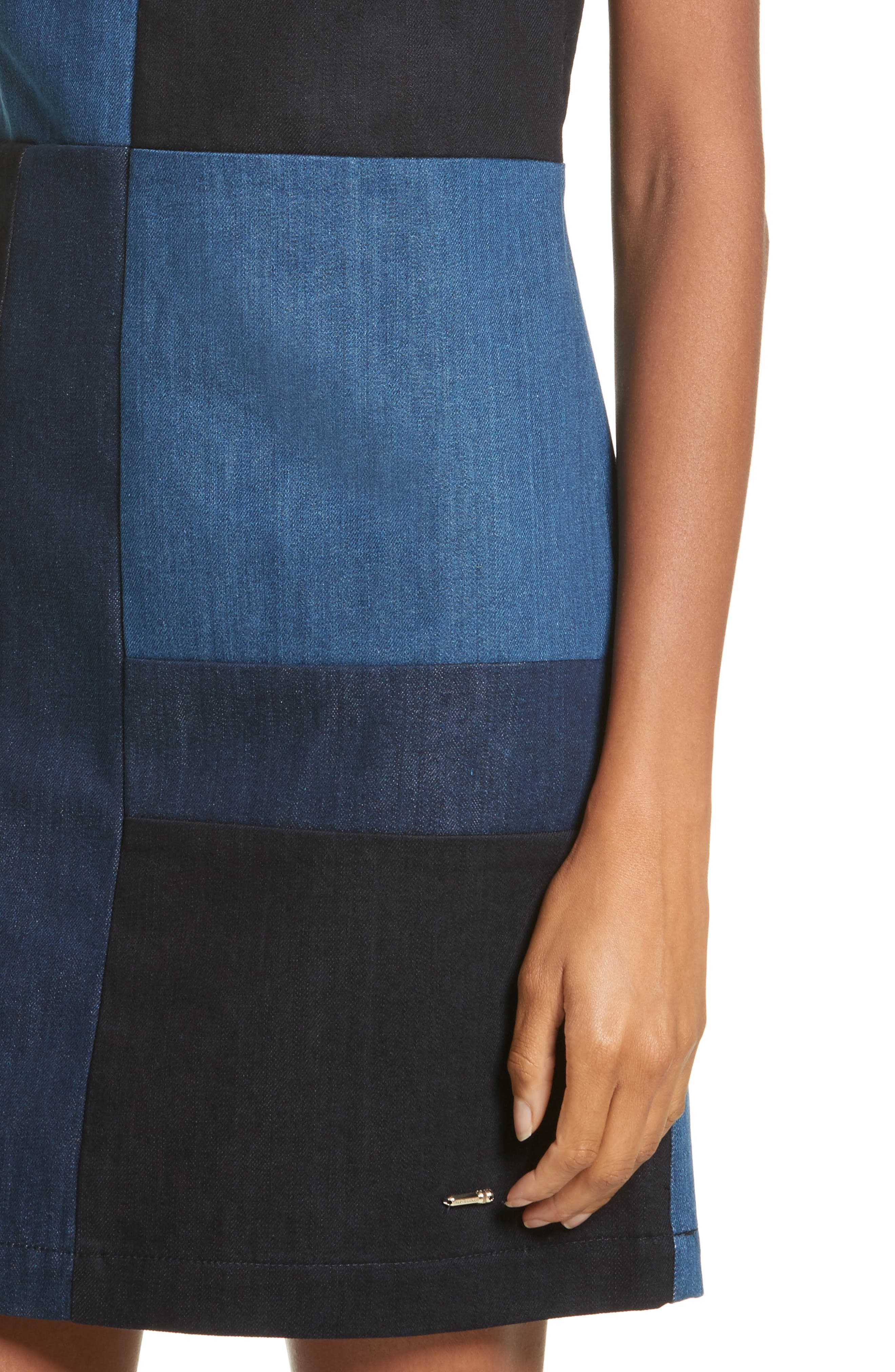 Ted Baker Morfee London Colorblock Denim A-Line Dress,                             Alternate thumbnail 4, color,                             Mid Wash