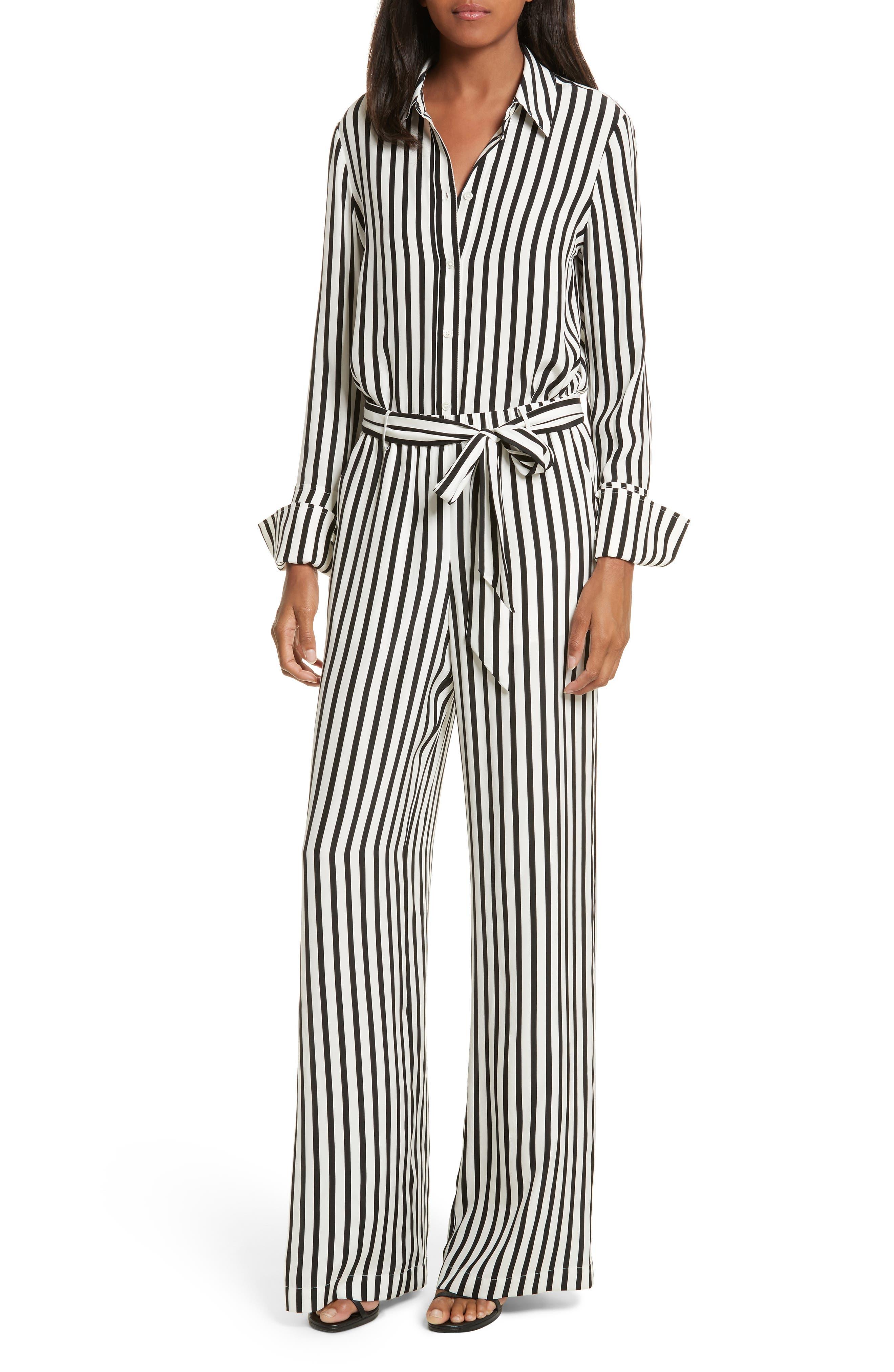 Stripe Silk Shirt,                             Alternate thumbnail 8, color,                             Noir Multi