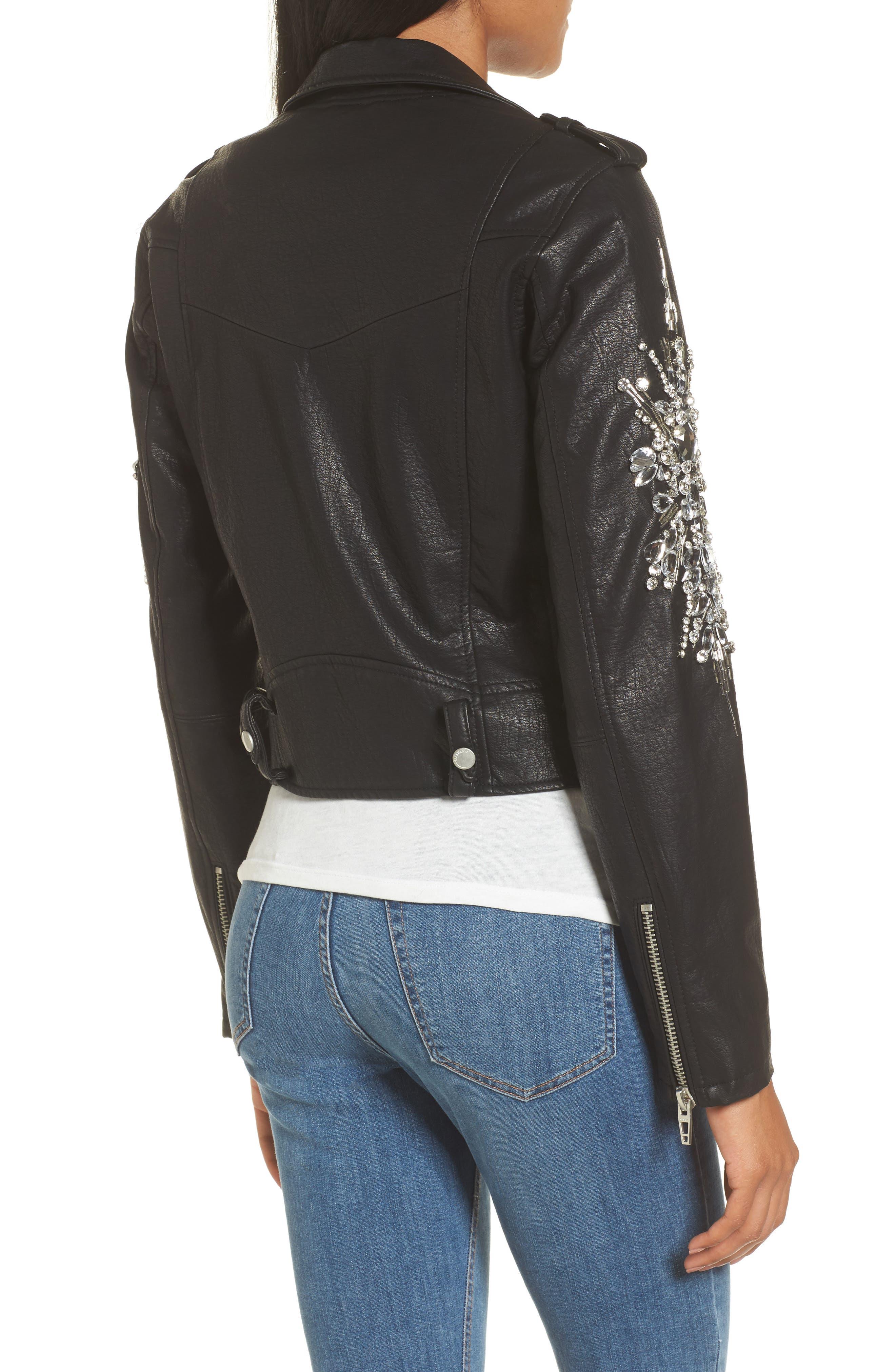 Embellished Faux Leather Moto Jacket,                             Alternate thumbnail 2, color,                             Crown Jewels