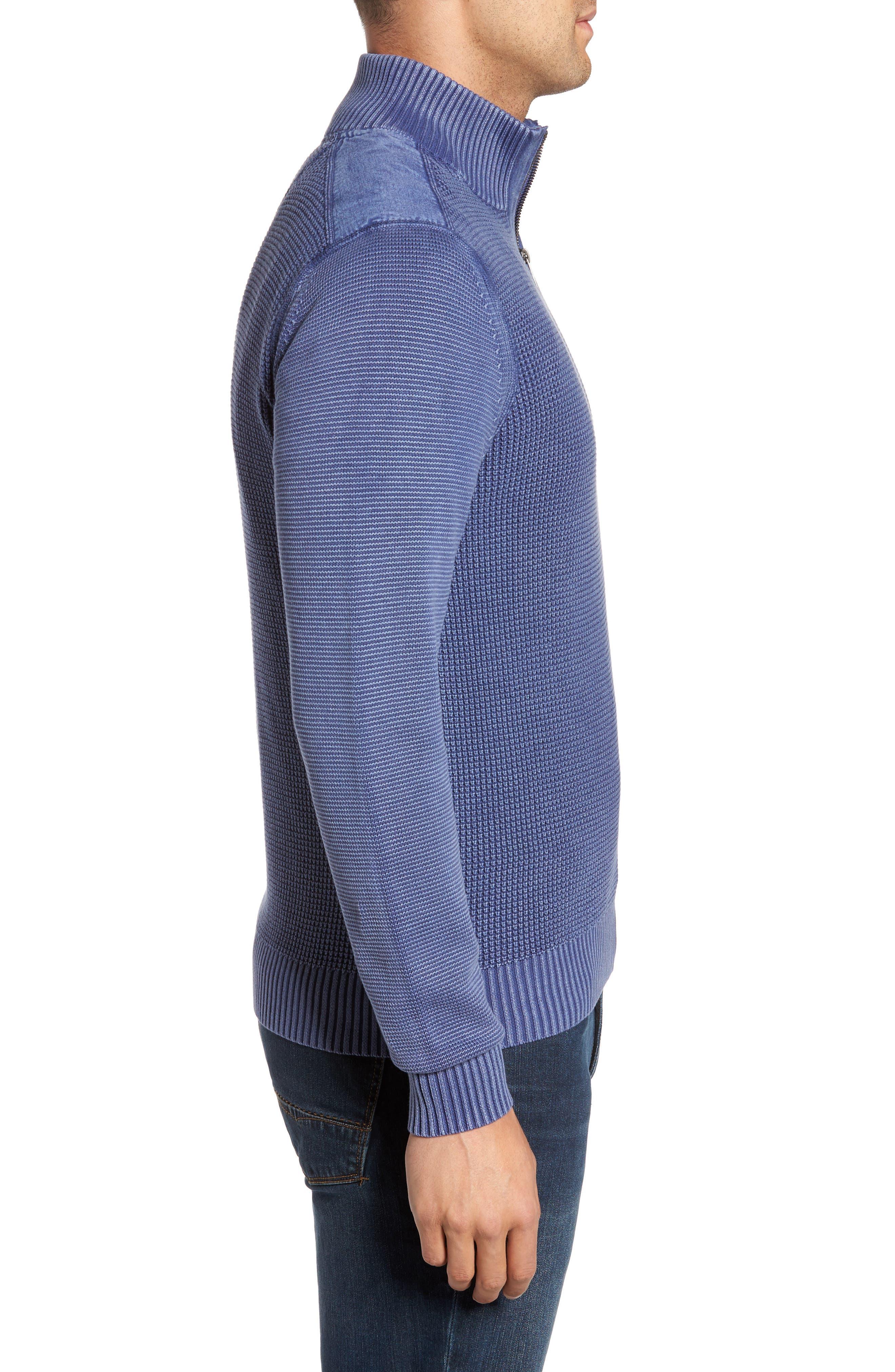 Coastal Shores Quarter Zip Sweater,                             Alternate thumbnail 4, color,                             Downpour