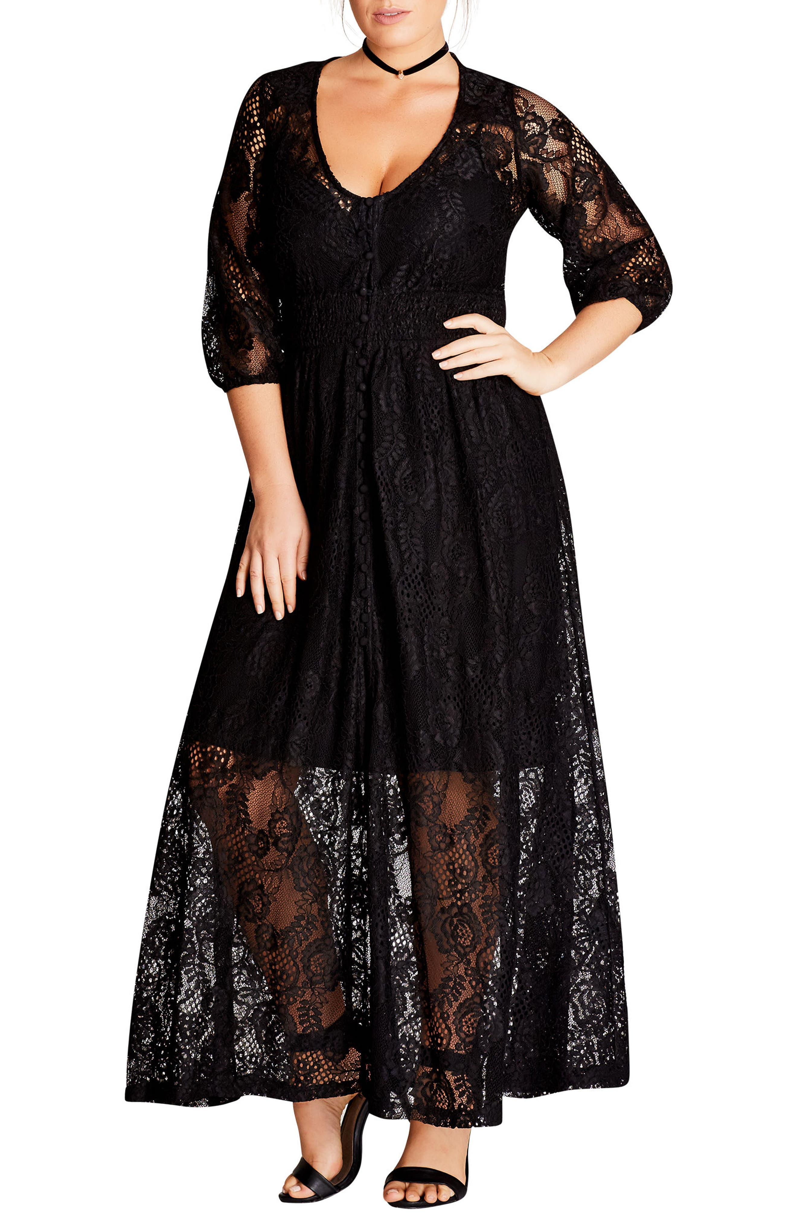 Alternate Image 1 Selected - City Chic Divine Creation Lace Maxi Dress (Plus Size)