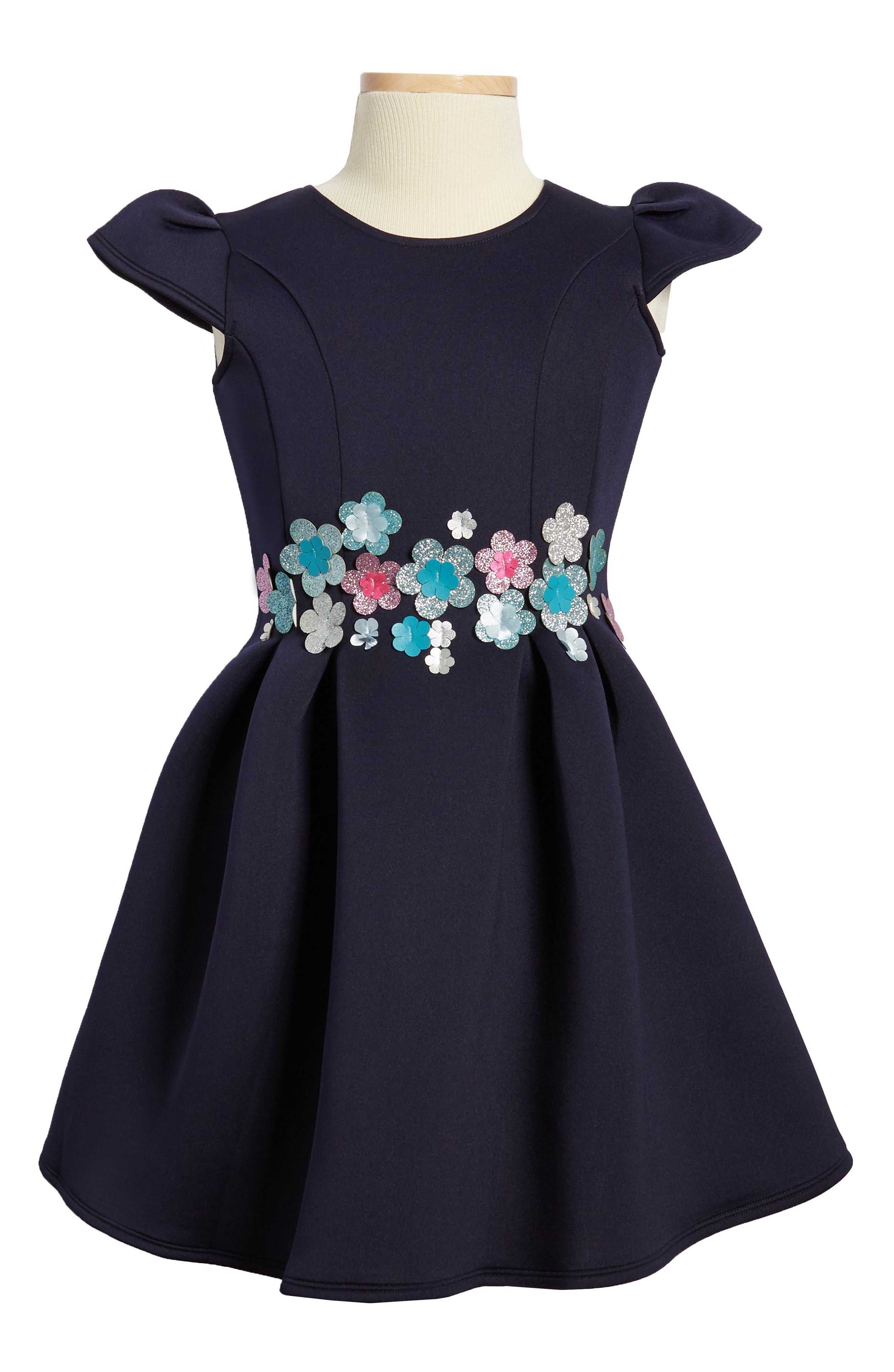 Main Image - Halabaloo Bouquet Scuba Dress (Toddler Girls, Little Girls & Big Girls)