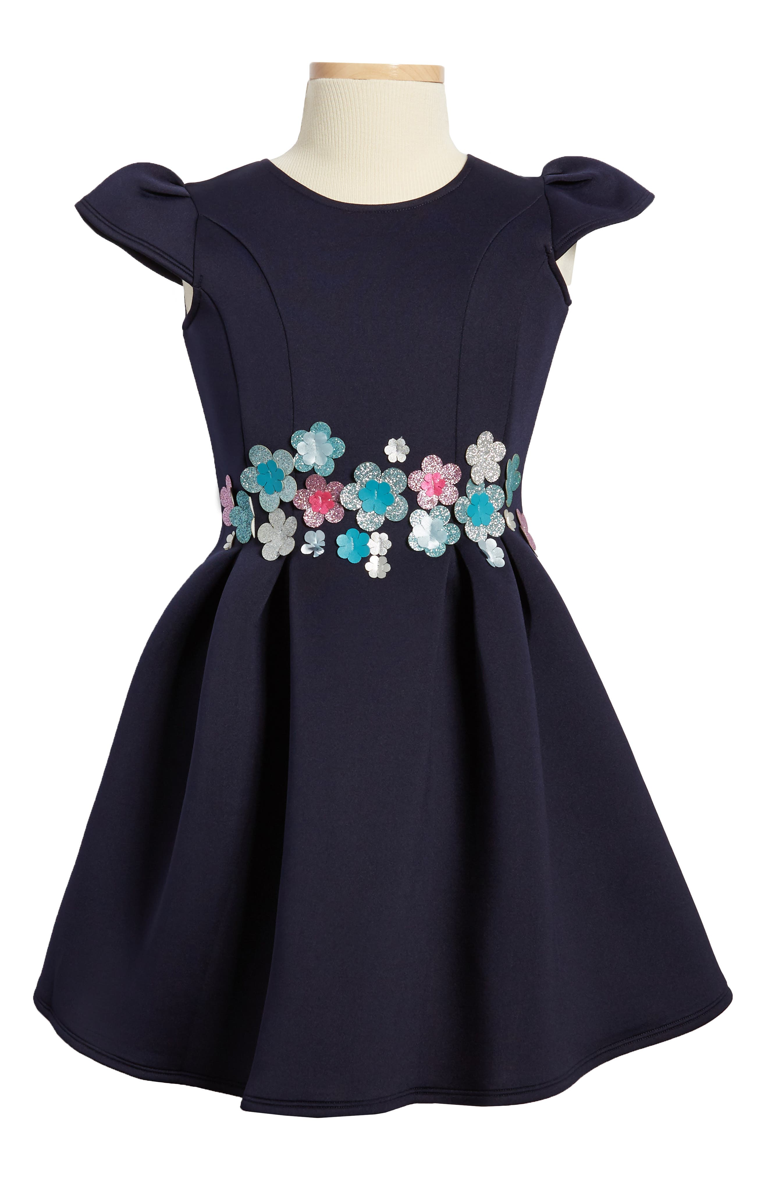 Bouquet Scuba Dress,                         Main,                         color, Navy