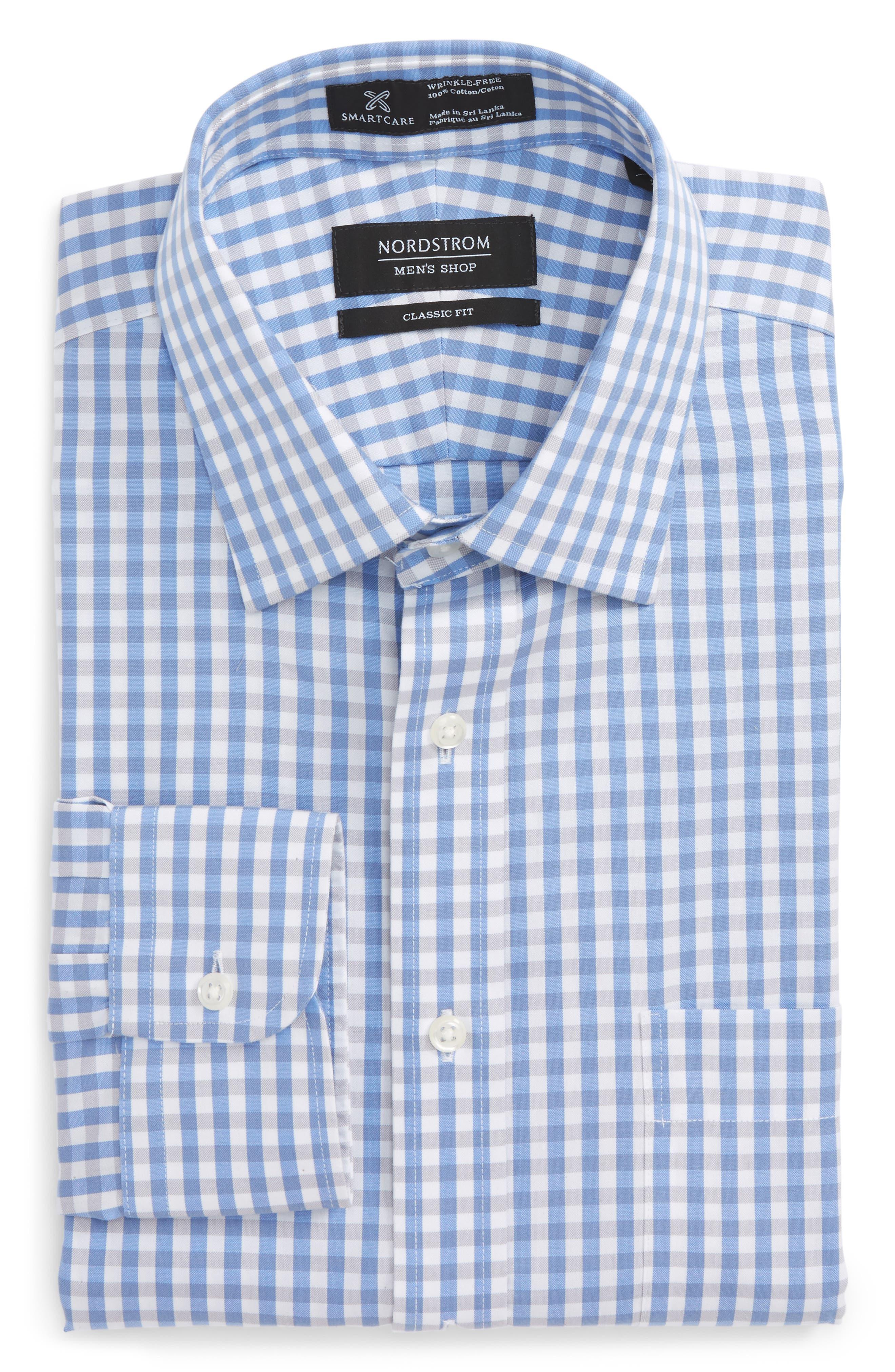 Smartcare<sup>™</sup> Classic Fit Check Dress Shirt,                             Alternate thumbnail 6, color,                             Grey Micro
