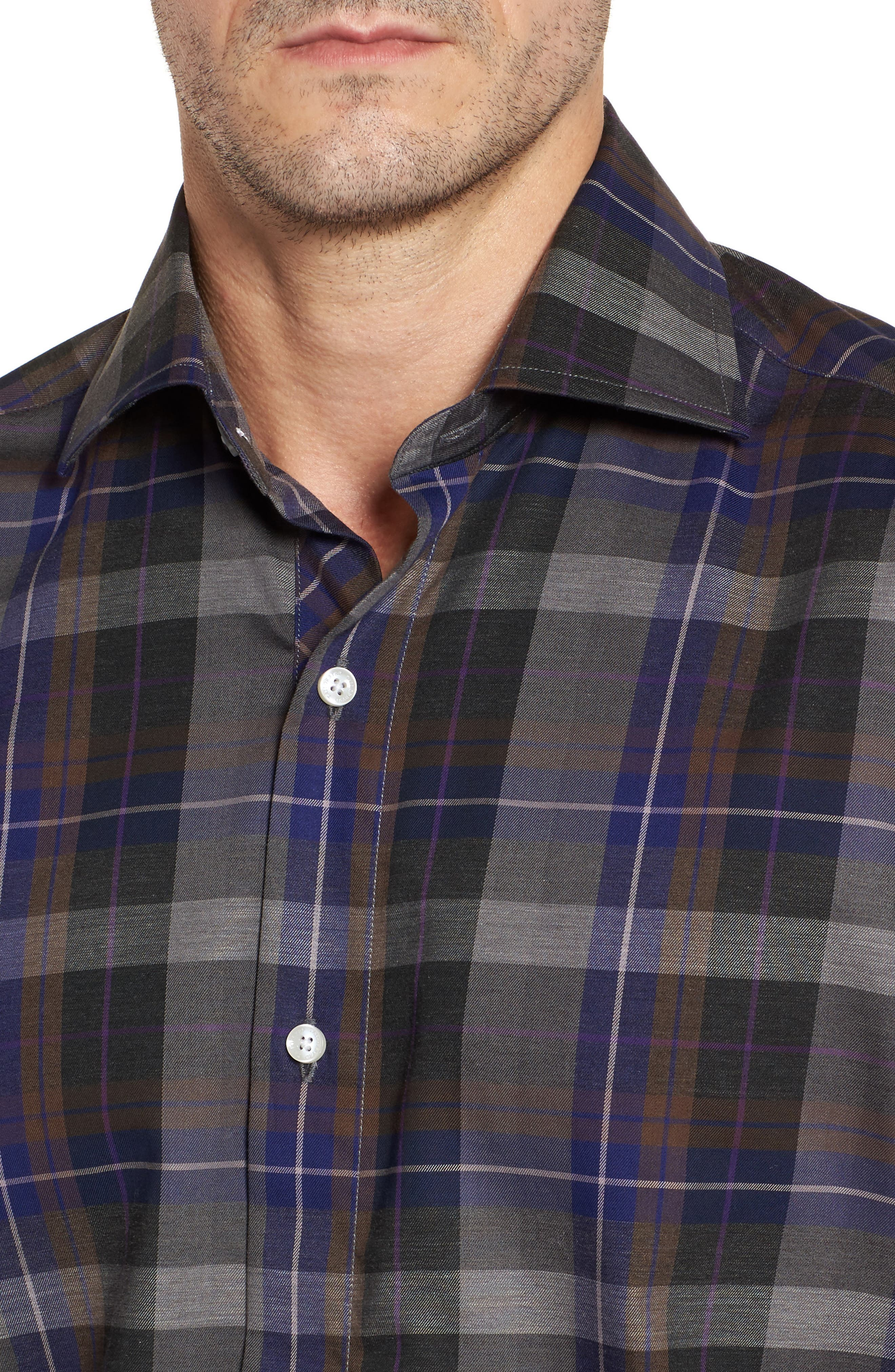 Cullen Plaid Twill Sport Shirt,                             Alternate thumbnail 4, color,                             Blue