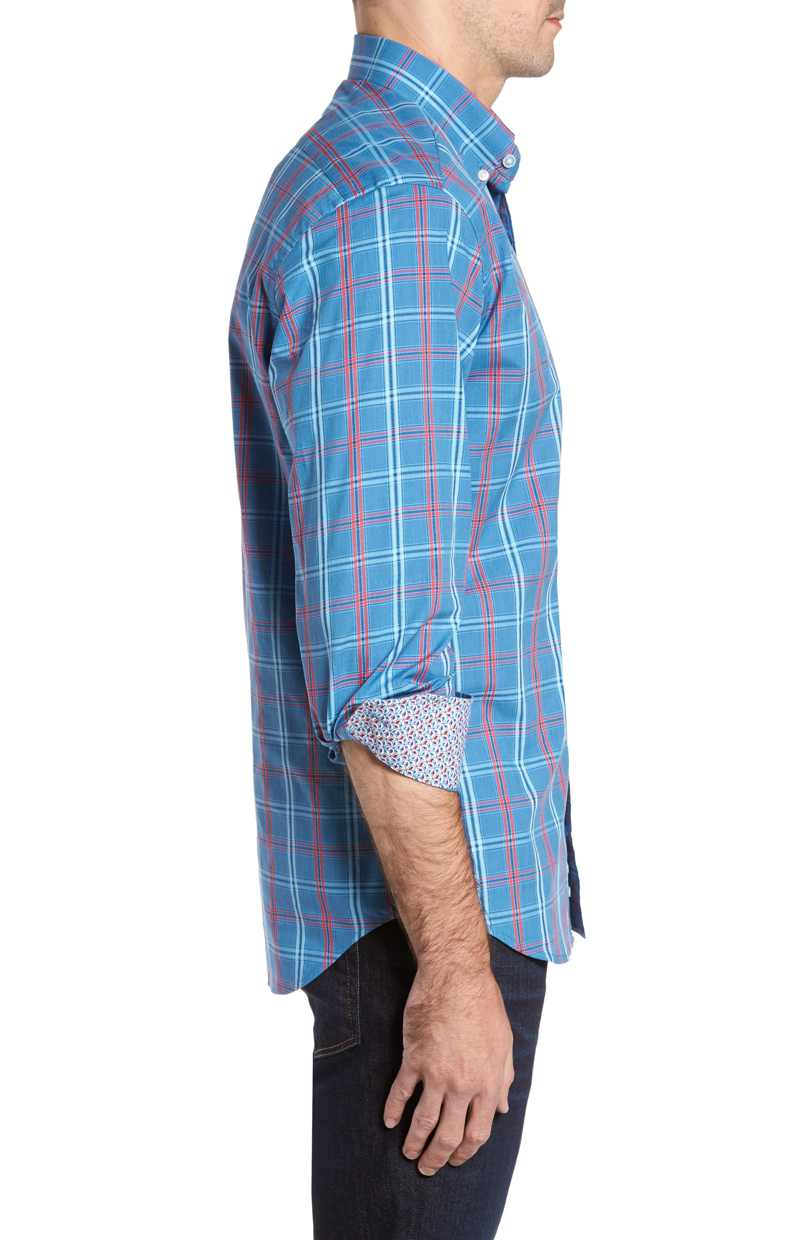 Ashland Windowpane Check Sport Shirt,                             Alternate thumbnail 3, color,                             Blue