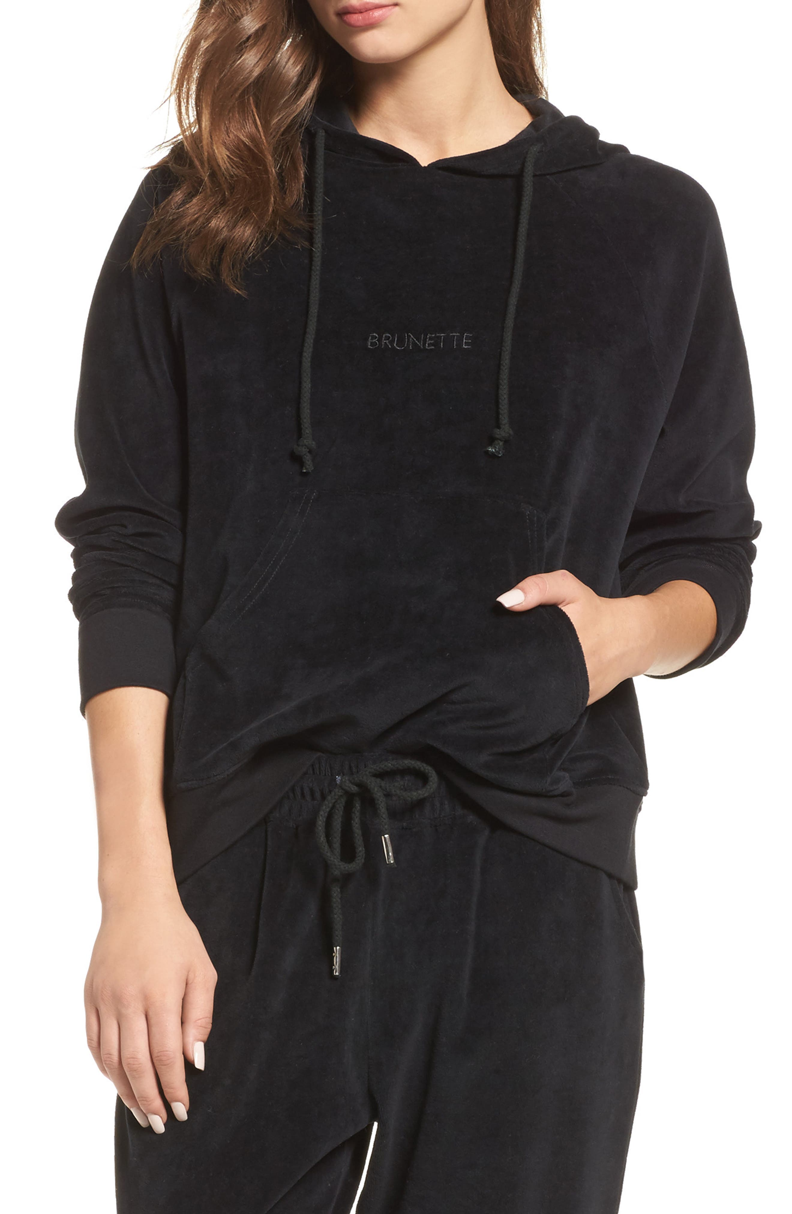 Brunette Embroidered Velour Hoodie,                             Main thumbnail 1, color,                             Black