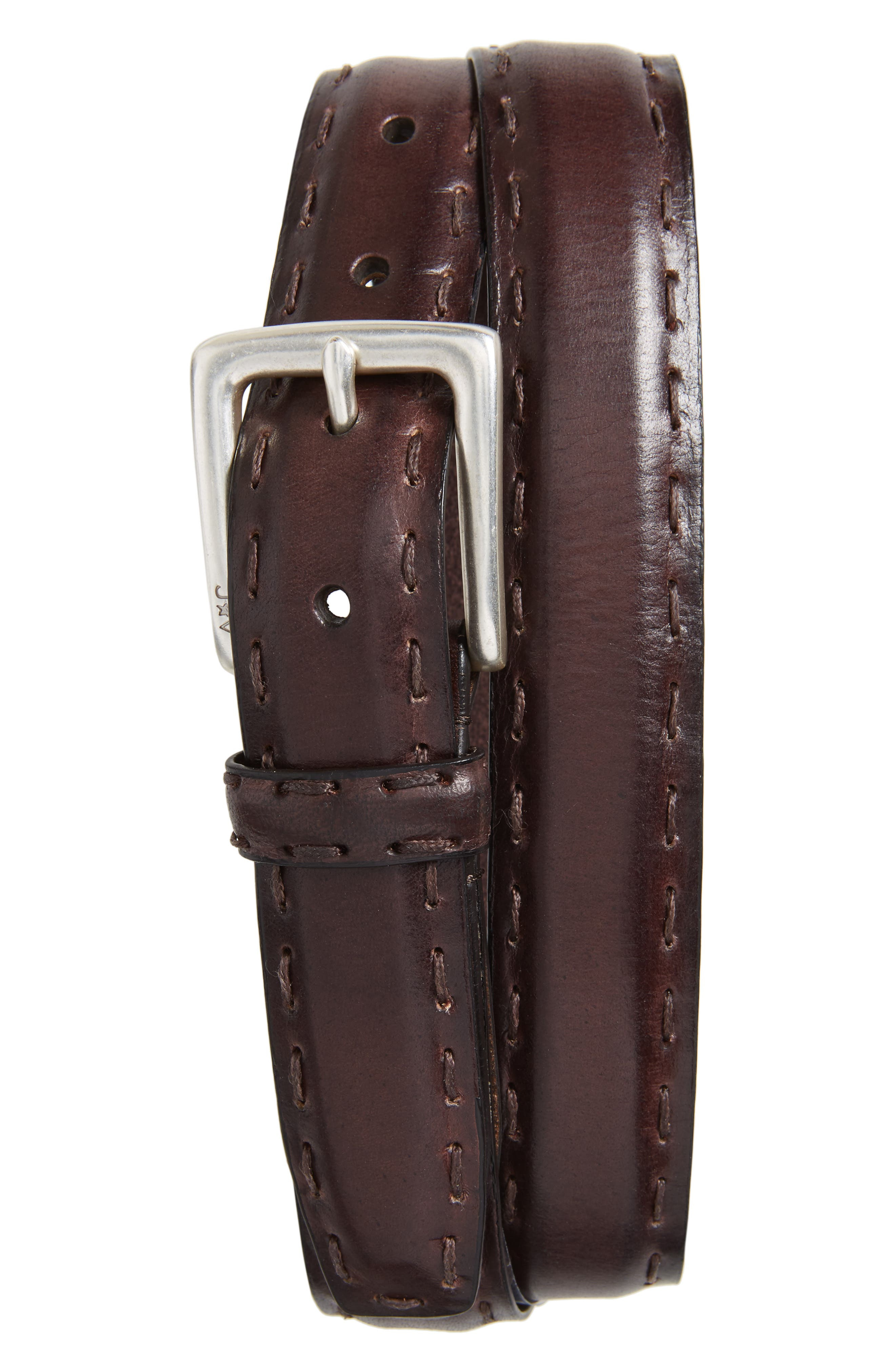 Pickstitch Feather Edge Leather Belt,                             Main thumbnail 1, color,                             Chocolate