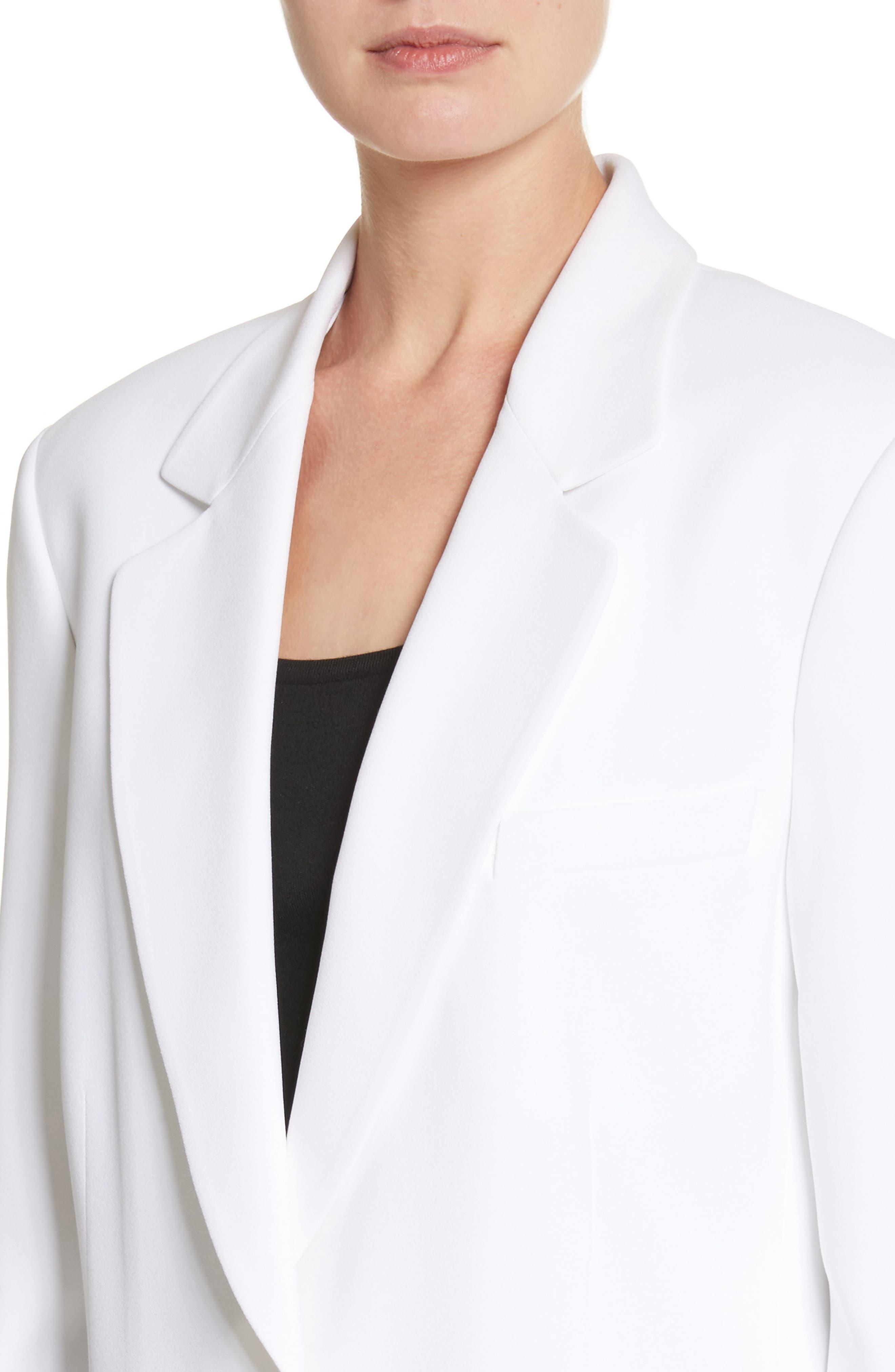 Double Crepe Sable Jacket,                             Alternate thumbnail 4, color,                             Optic White