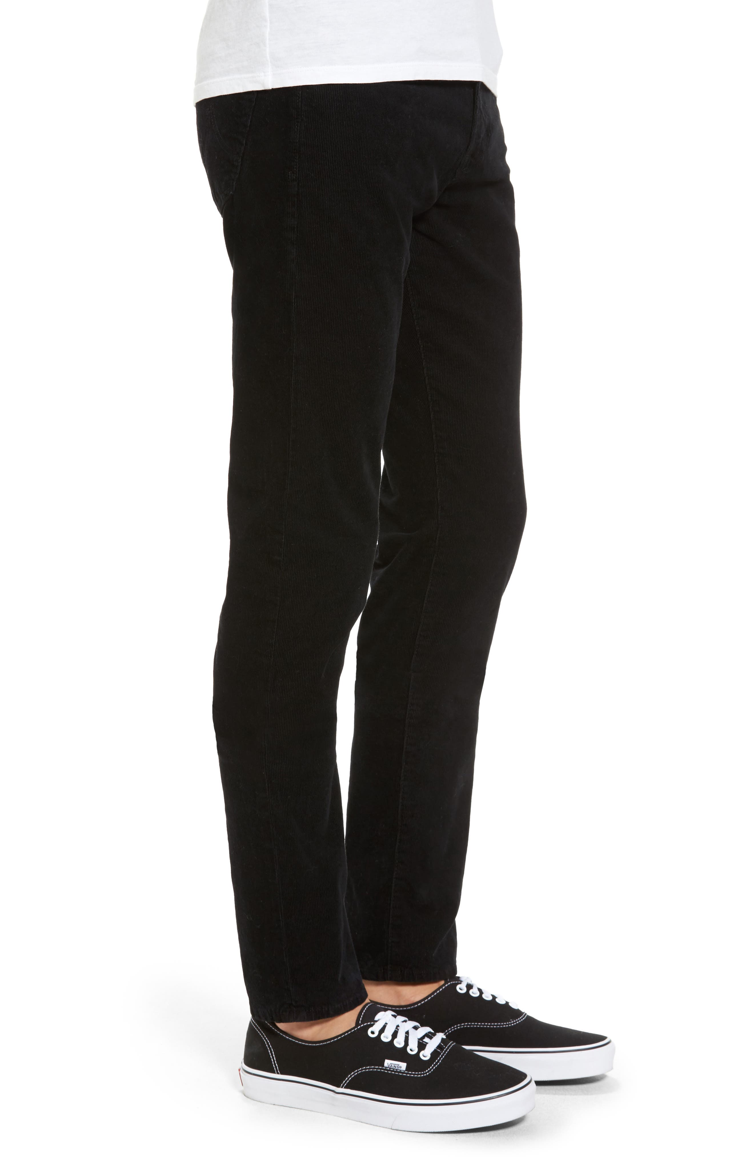 Dylan Skinny Fit Corduroy Pants,                             Alternate thumbnail 3, color,                             Sulfur True Black