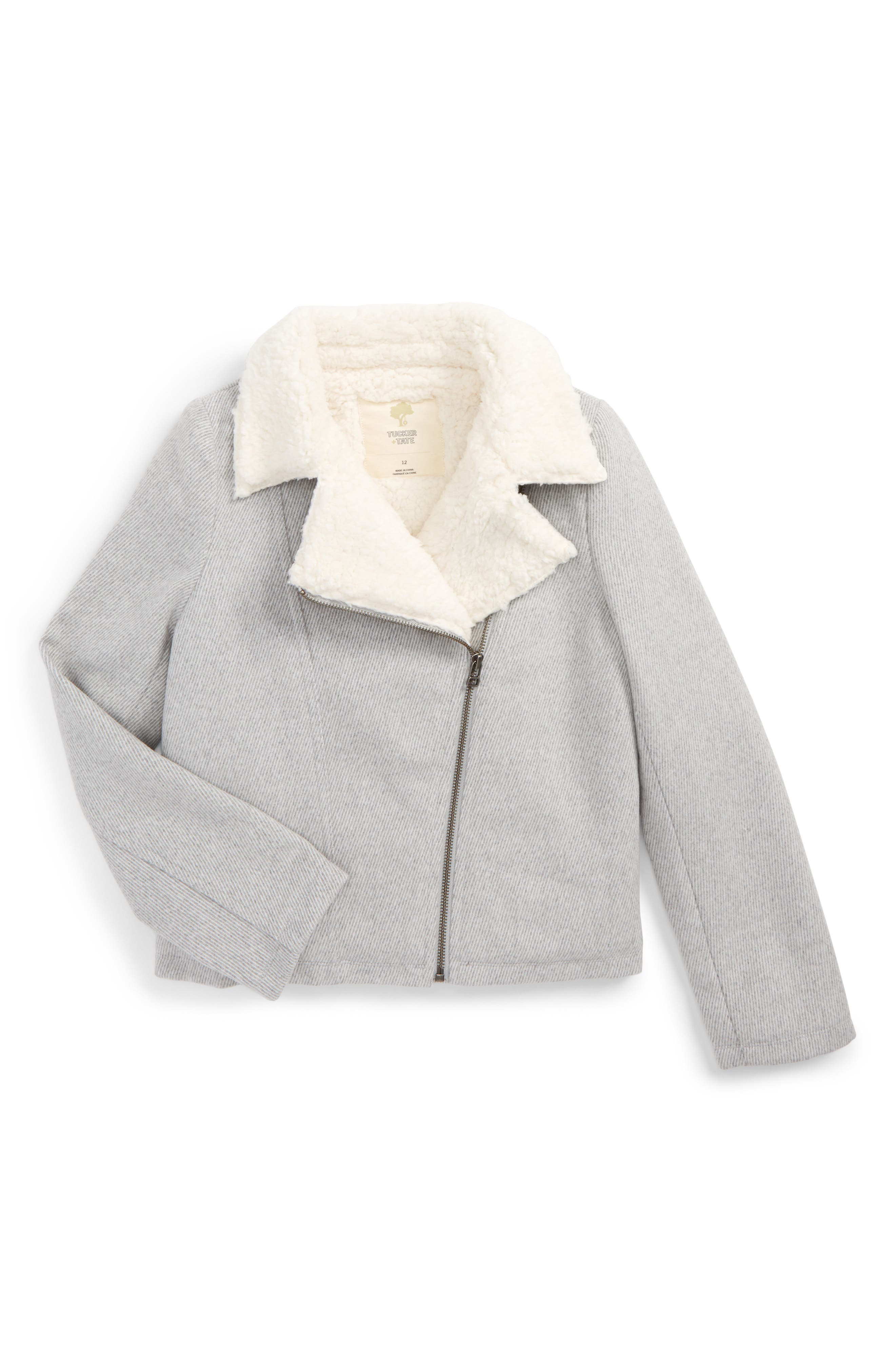 Alternate Image 1 Selected - Tucker + Tate Knit Moto Jacket with Faux Fur Lining (Big Girls)